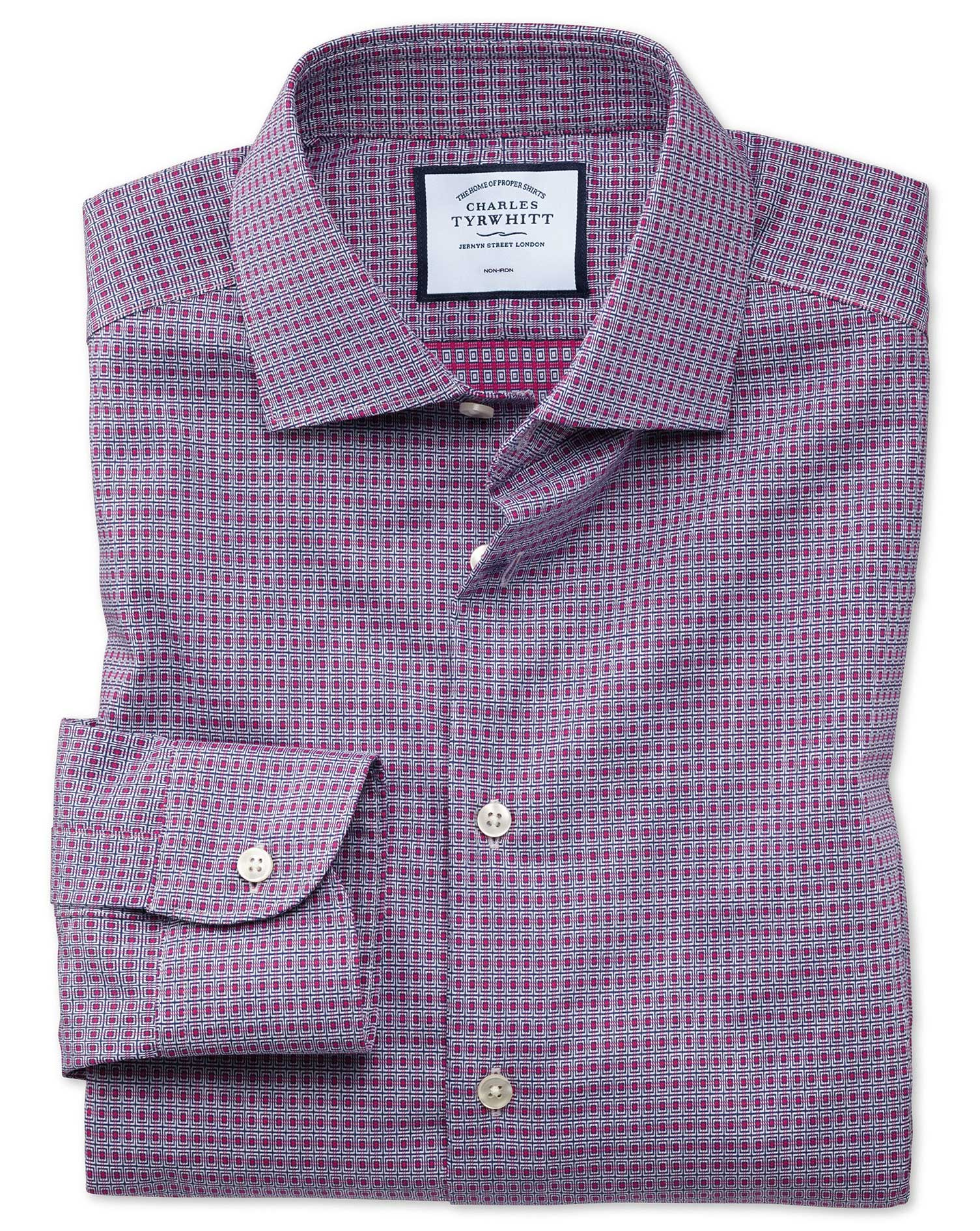 Extra Slim Fit Business Casual Non-Iron Pink and Navy Square Dobby Cotton Formal Shirt Single Cuff S
