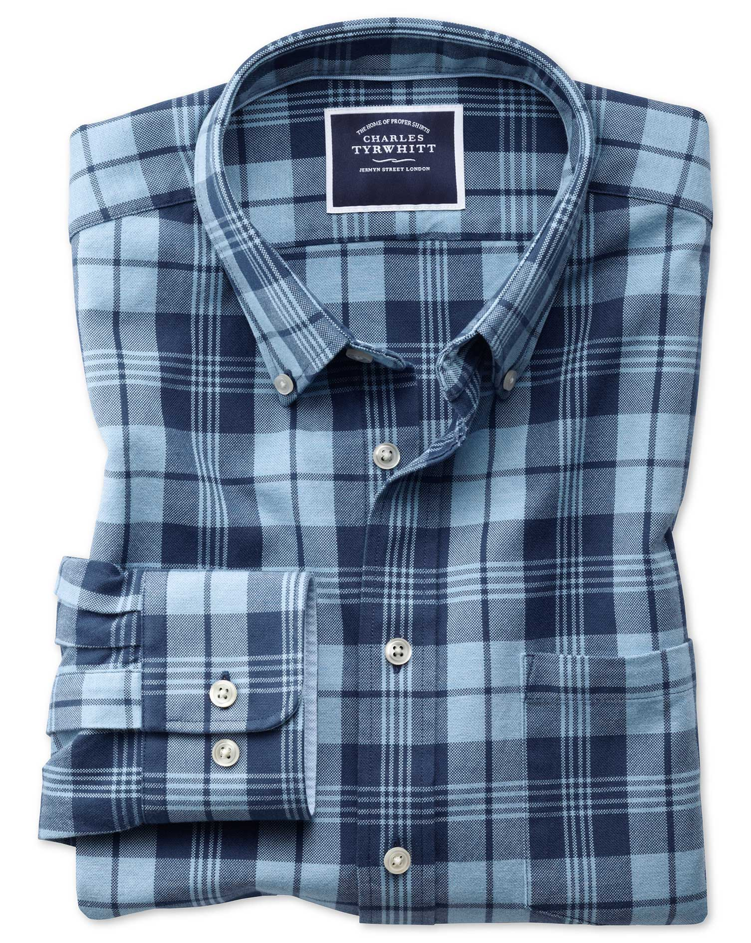 Slim Fit Button-Down Washed Oxford Navy and Blue Check Cotton Shirt Single Cuff Size Large by Charle