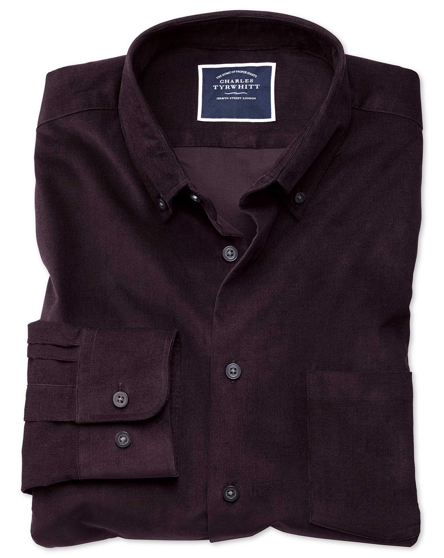 Extra Slim Fit Plain Dark Purple Fine Corduroy Cotton Shirt Single Cuff Size XS by Charles Tyrwhitt