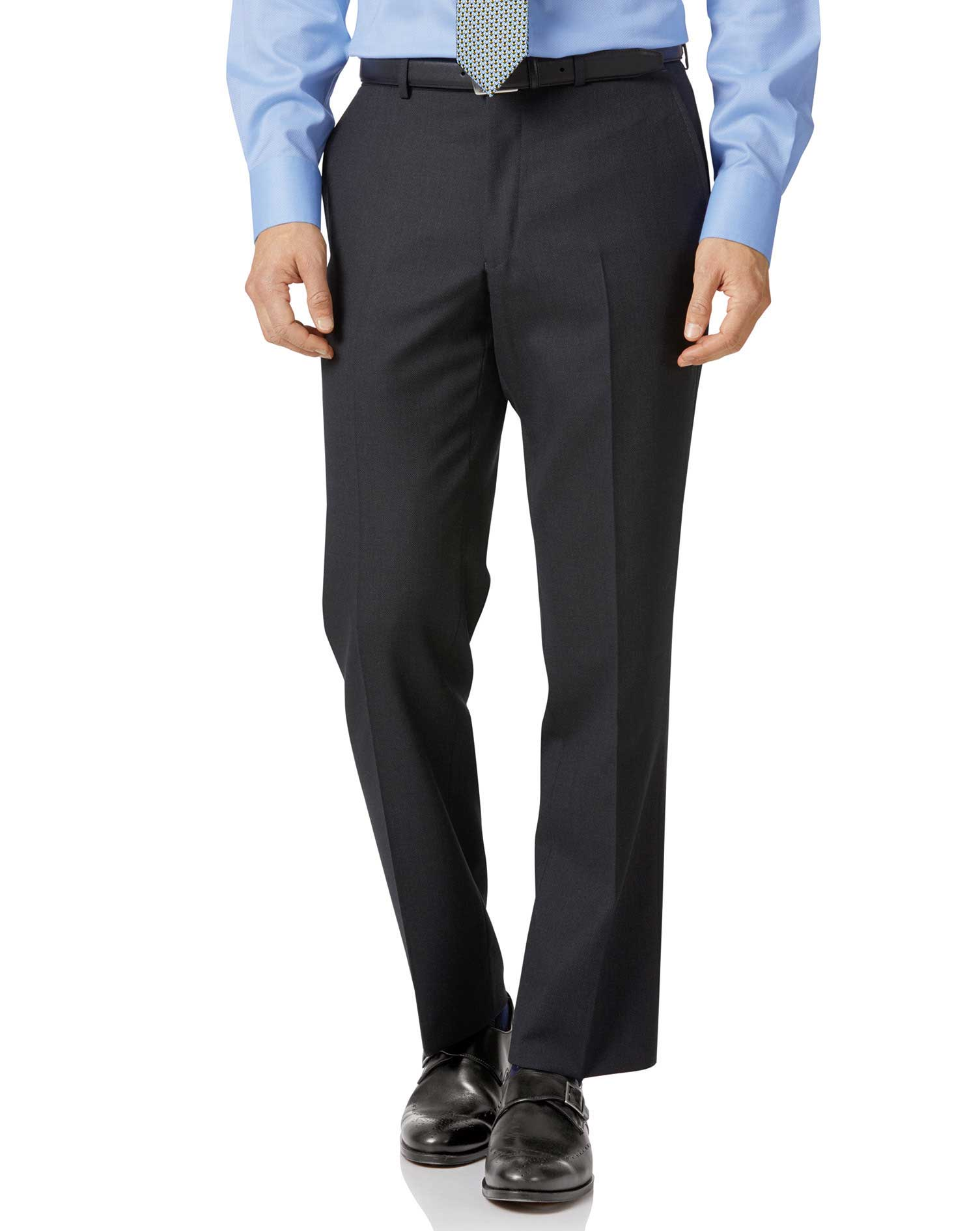 Charcoal Classic Fit Birdseye Travel Suit Trousers Size W34 L38 by Charles Tyrwhitt