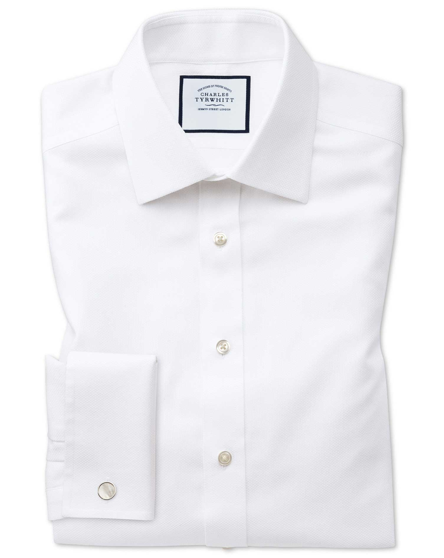 Classic Fit Non-Iron White Arrow Weave Cotton Formal Shirt Double Cuff Size 16.5/35 by Charles Tyrwh