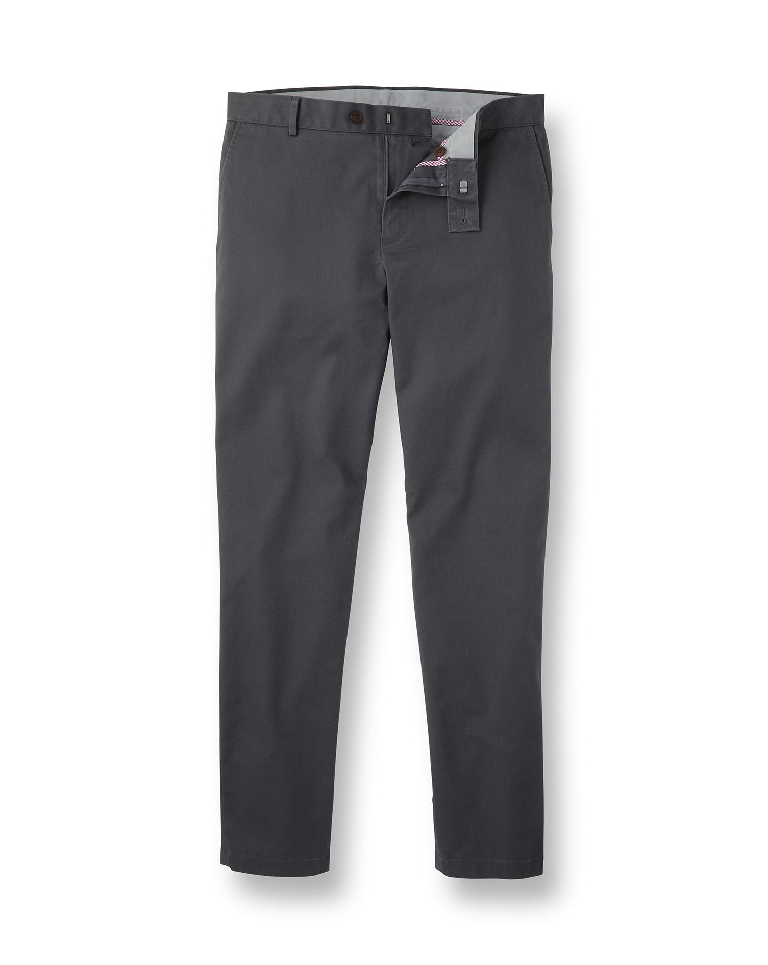 Charcoal Non-Iron Ultimate Cotton Chino Trousers Size W40 L30 by Charles Tyrwhitt
