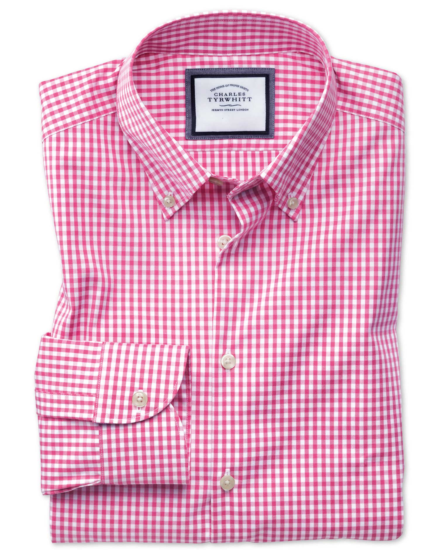 Extra Slim Fit Button-Down Business Casual Non-Iron Pink Cotton Formal Shirt Single Cuff Size 15/33