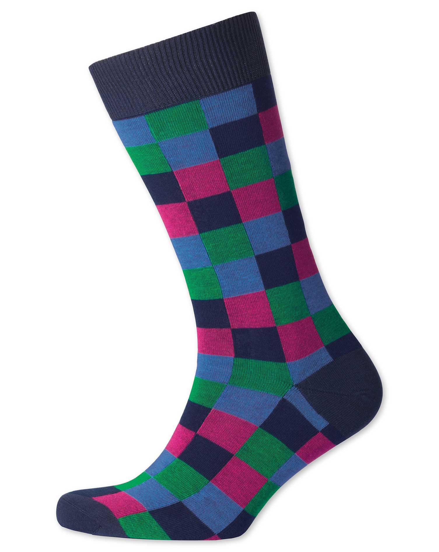 Multi Check Socks Size Large by Charles Tyrwhitt