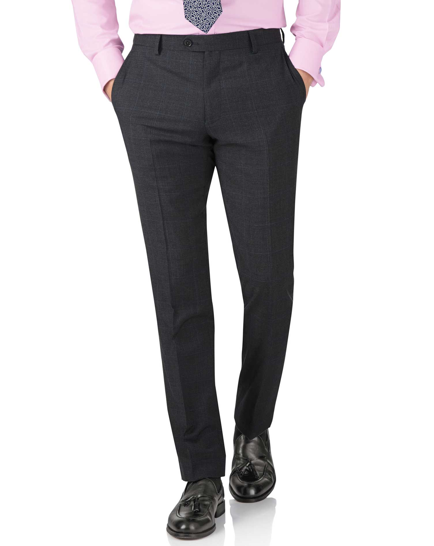Charcoal Slim Fit Sharkskin Travel Suit Trouser Size W42 L38 by Charles Tyrwhitt