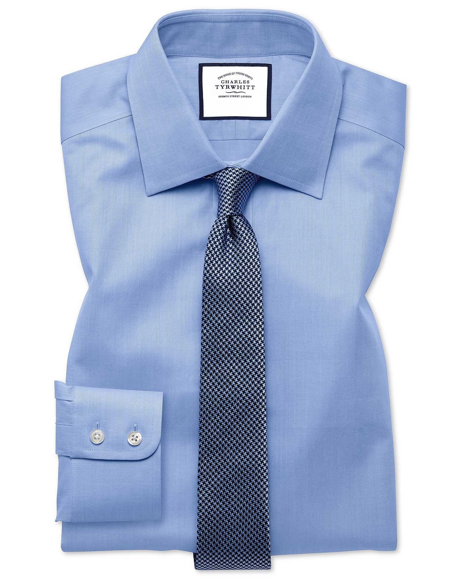 Extra slim fit fine herringbone sky shirt charles tyrwhitt for Extra slim tuxedo shirt
