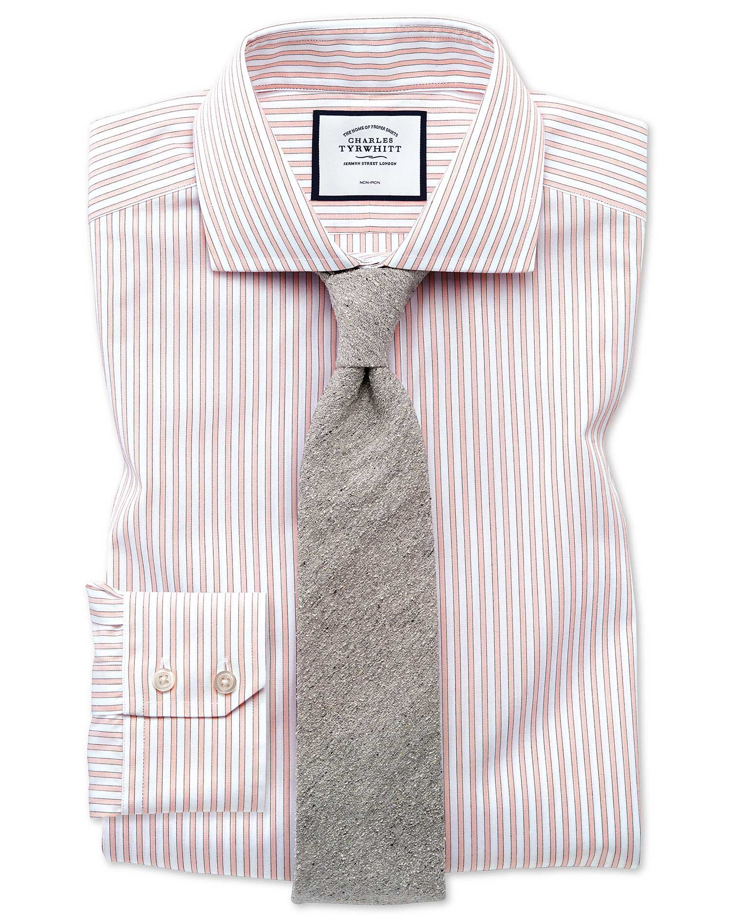 Slim Fit Non-Iron Shadow Stripe Pink Cotton Formal Shirt Single Cuff Size 16/33 by Charles Tyrwhitt