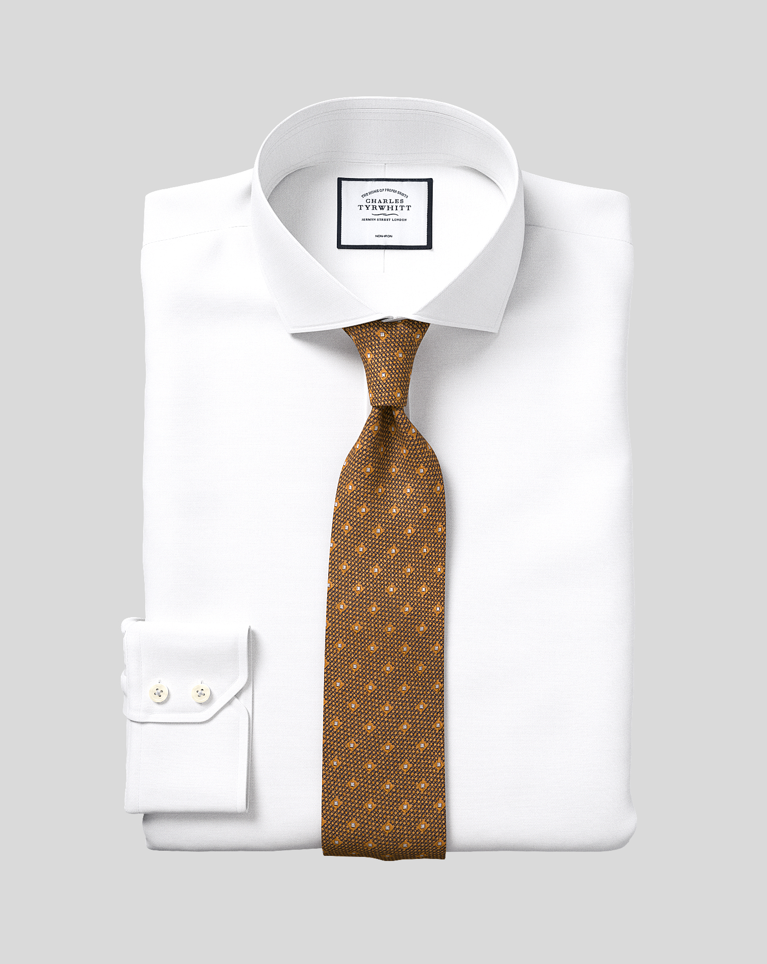 Cotton Slim Fit Non-Iron White Oxford Stretch Shirt