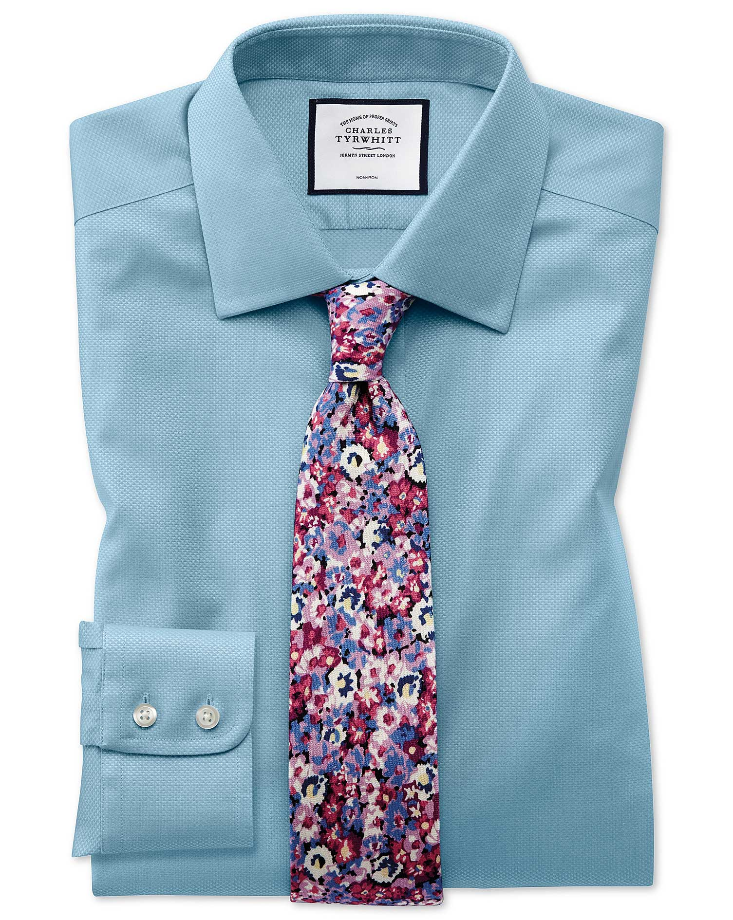 Slim Fit Non-Iron Teal Triangle Weave Cotton Formal Shirt Single Cuff Size 17/36 by Charles Tyrwhitt