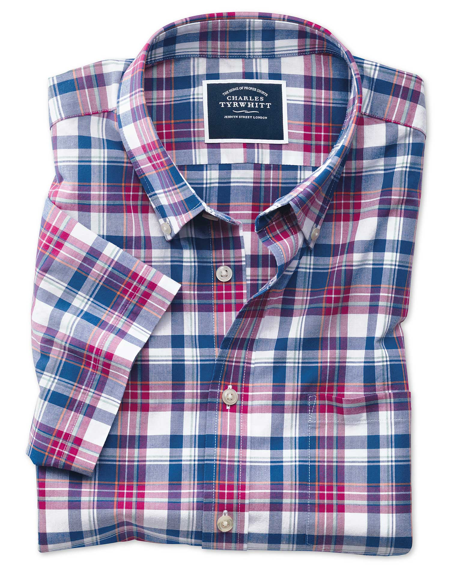 bf98c561b8e76 Clearance. Slim fit pink and navy check short sleeve poplin shirt ·  Clearance