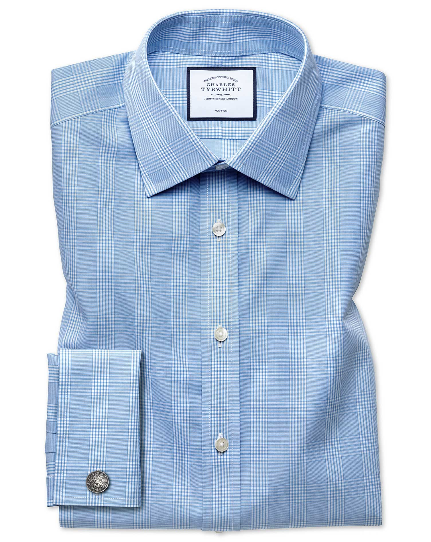 Classic Fit Non-Iron Prince Of Wales Sky Blue Cotton Formal Shirt Single Cuff Size 16.5/34 by Charle