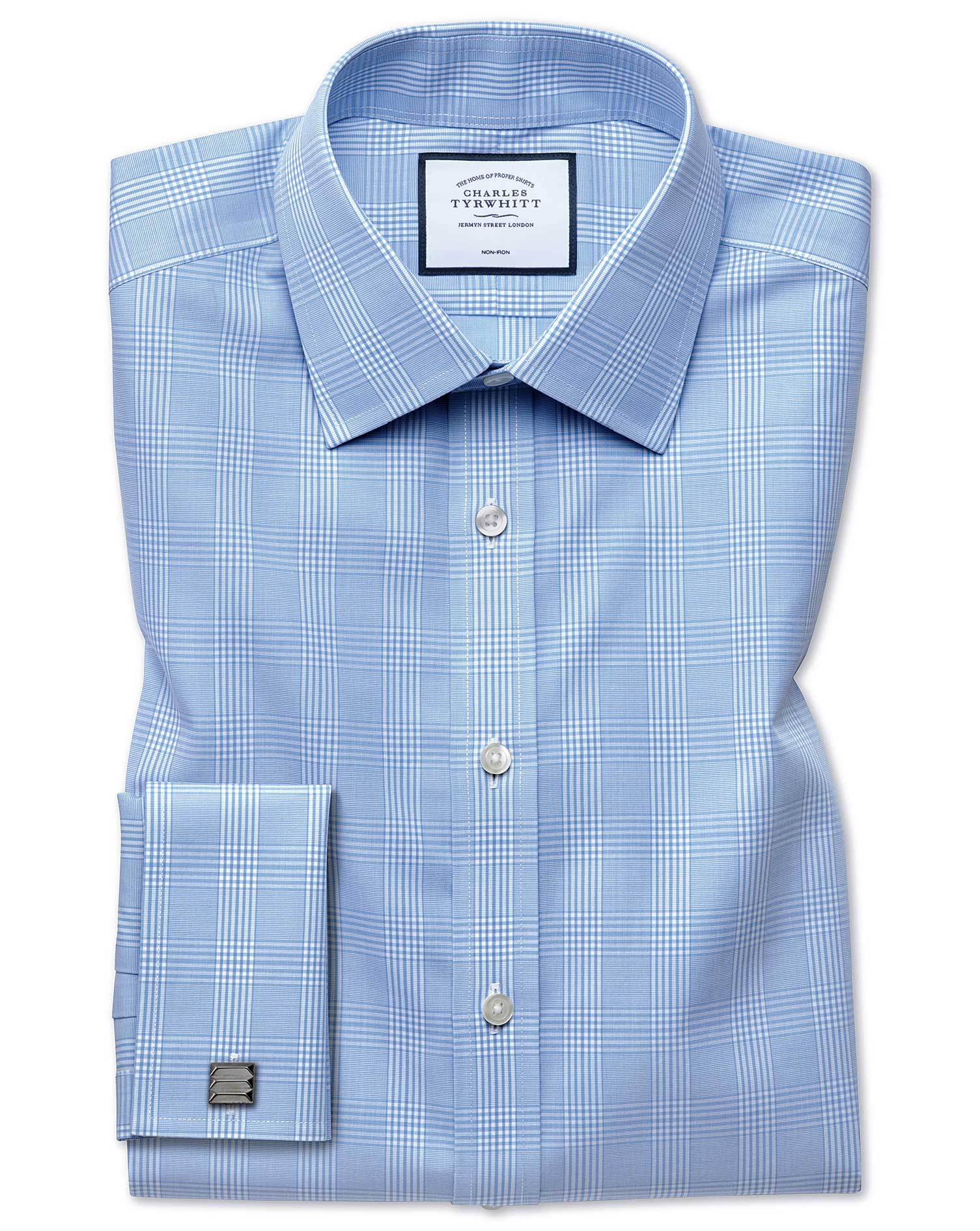 Slim Fit Non-Iron Prince Of Wales Sky Blue Cotton Formal Shirt Single Cuff Size 15.5/33 by Charles T