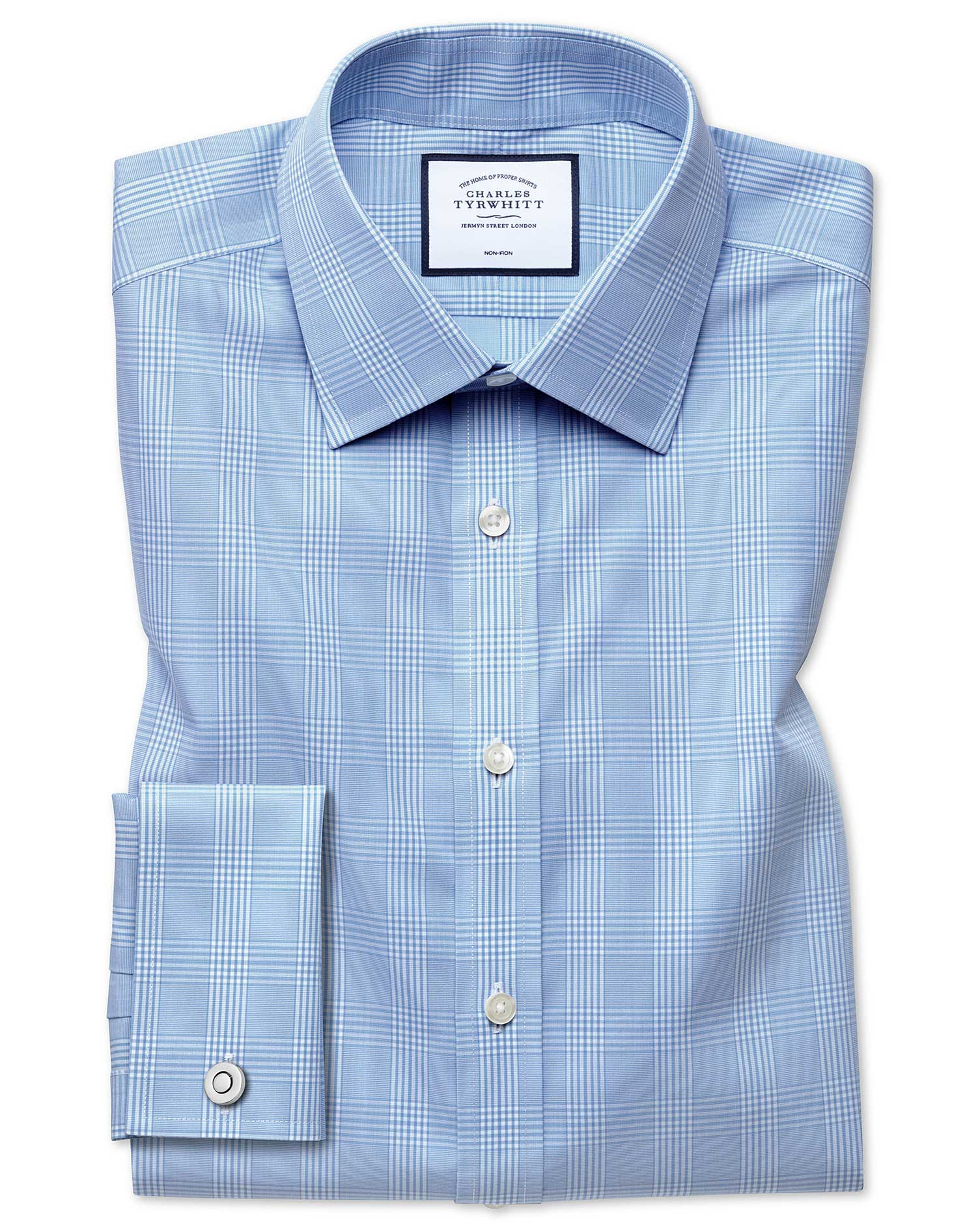 Extra Slim Fit Non-Iron Prince Of Wales Sky Blue Cotton Formal Shirt Double Cuff Size 16/34 by Charl