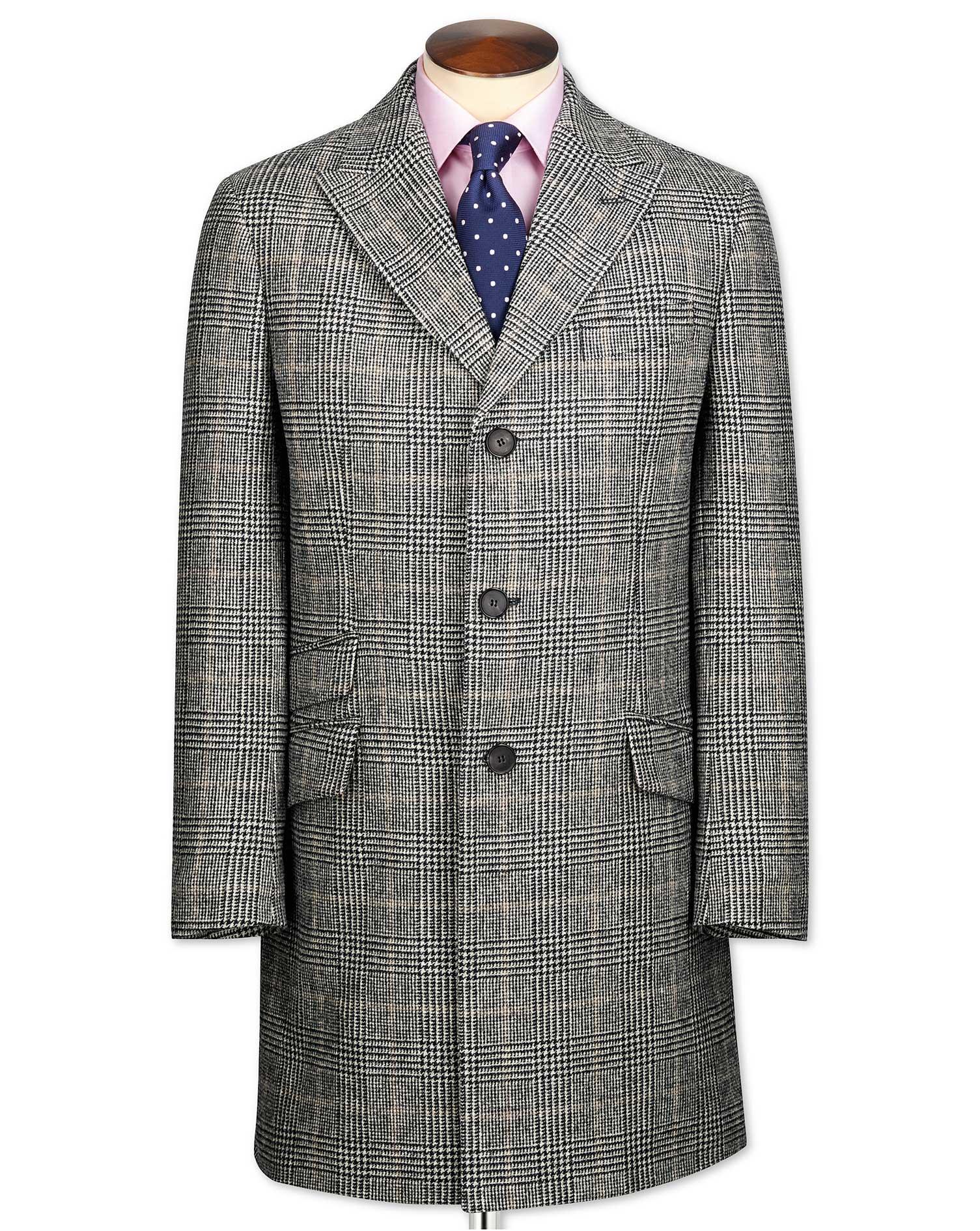 Grey Checkered Wool Epsom OverWool coat Size 44 Regular by Charles Tyrwhitt