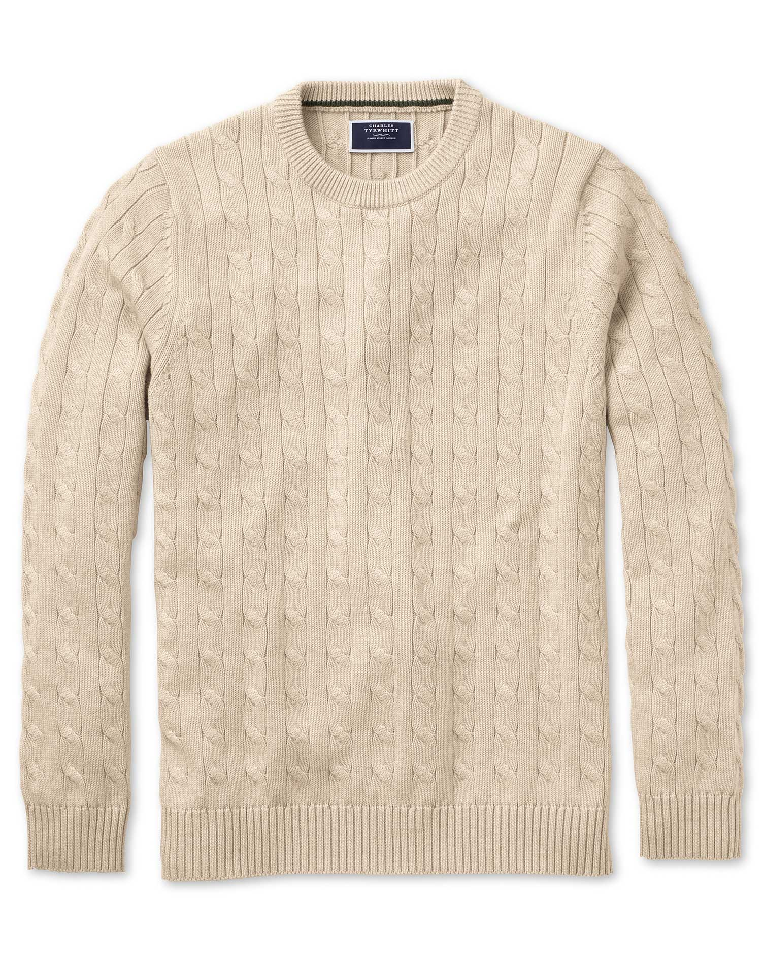 Stone Pima Cotton Cable Crew Neck Jumper Size XS by Charles Tyrwhitt