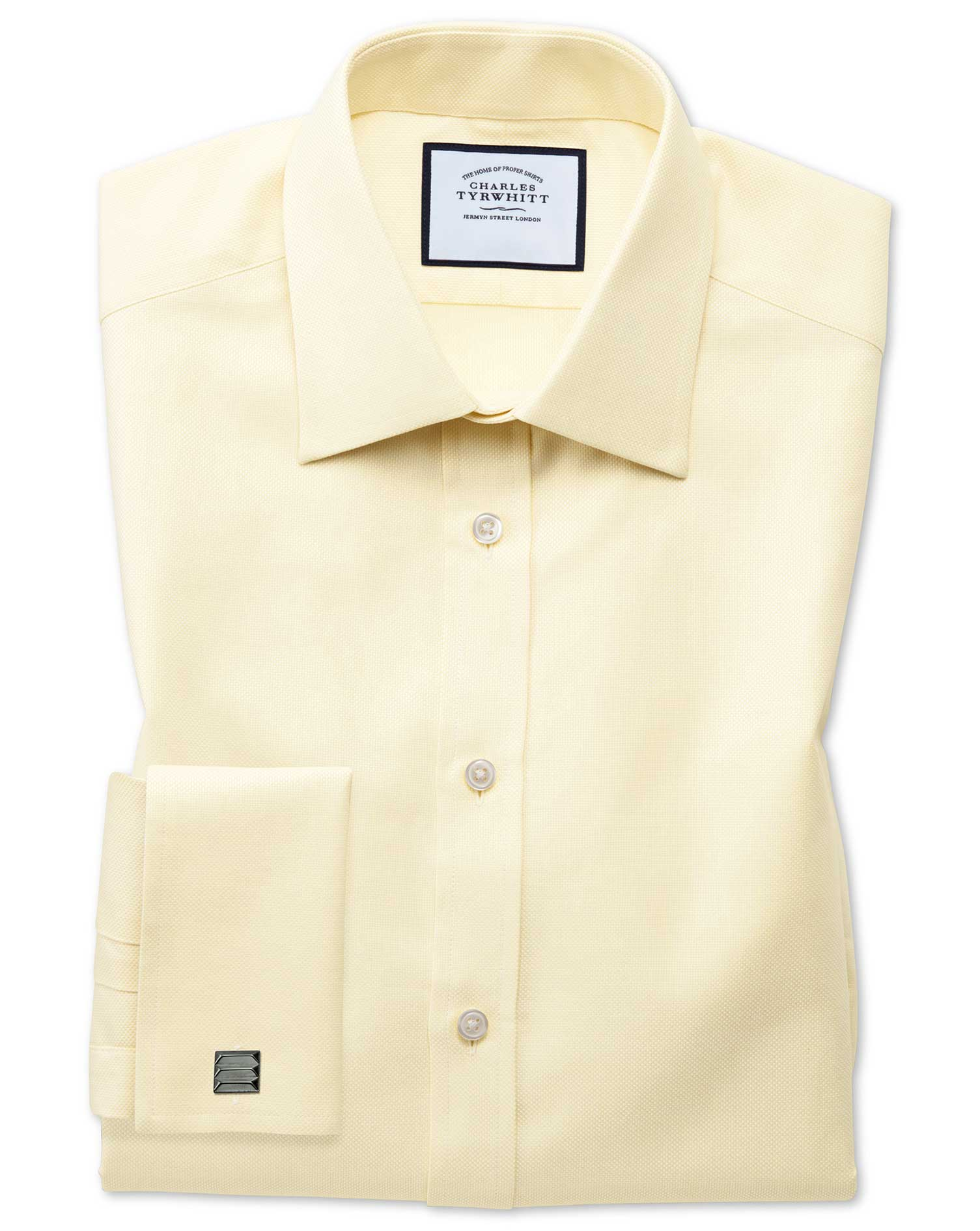Slim Fit Egyptian Cotton Royal Oxford Yellow Formal Shirt Single Cuff Size 16.5/36 by Charles Tyrwhi