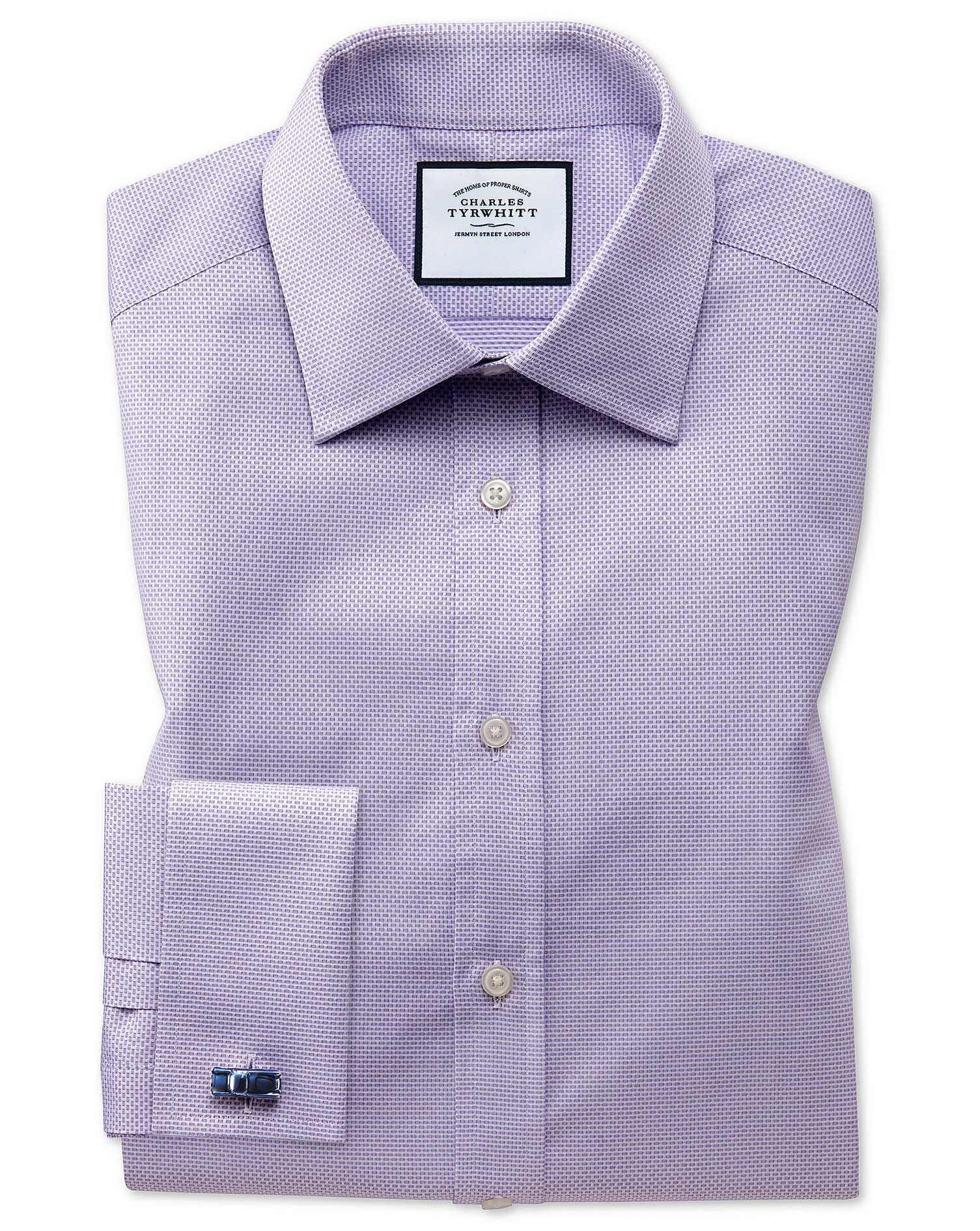 Classic Fit Lilac Cube Weave Egyptian Cotton Formal Shirt Single Cuff Size 18/37 by Charles Tyrwhitt