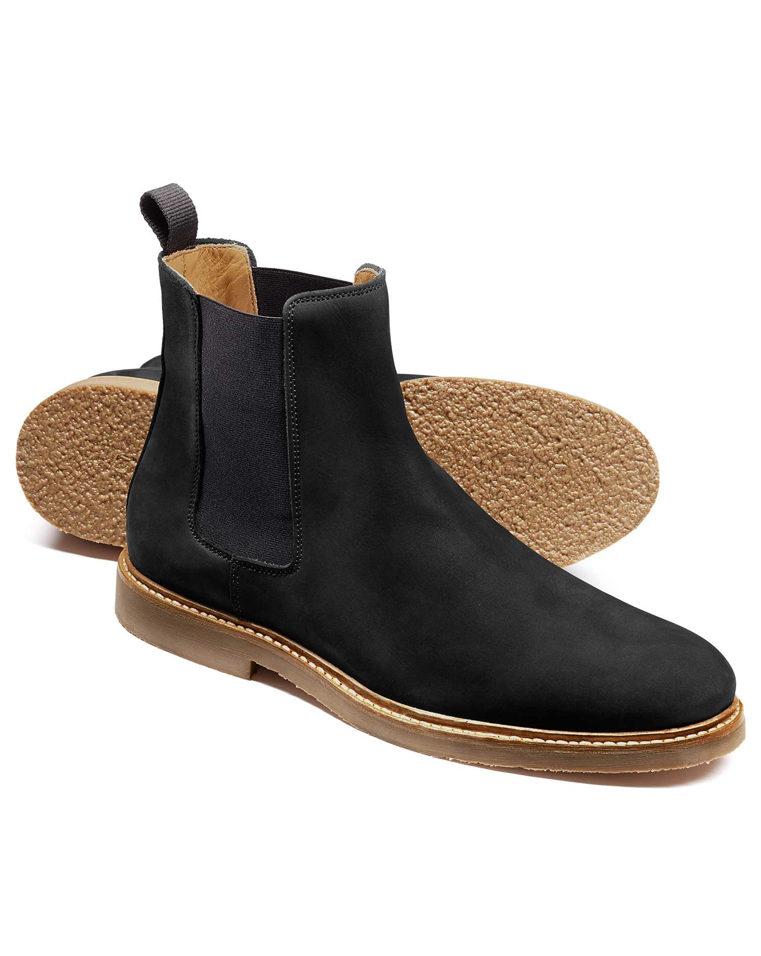 Black Nubuck Leather Chelsea Boots Size 11 R by Charles Tyrwhitt