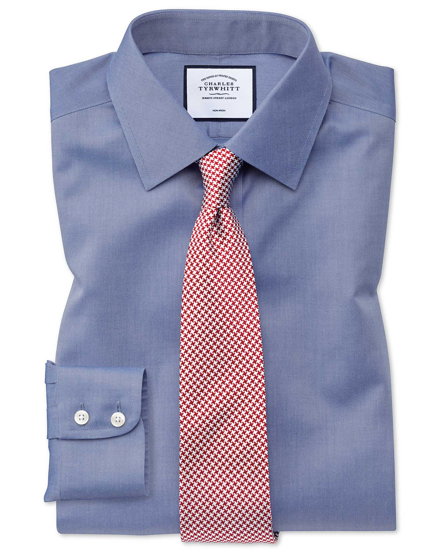 Classic Fit Mid-Blue Non-Iron Twill Cotton Formal Shirt by Charles Tyrwhitt