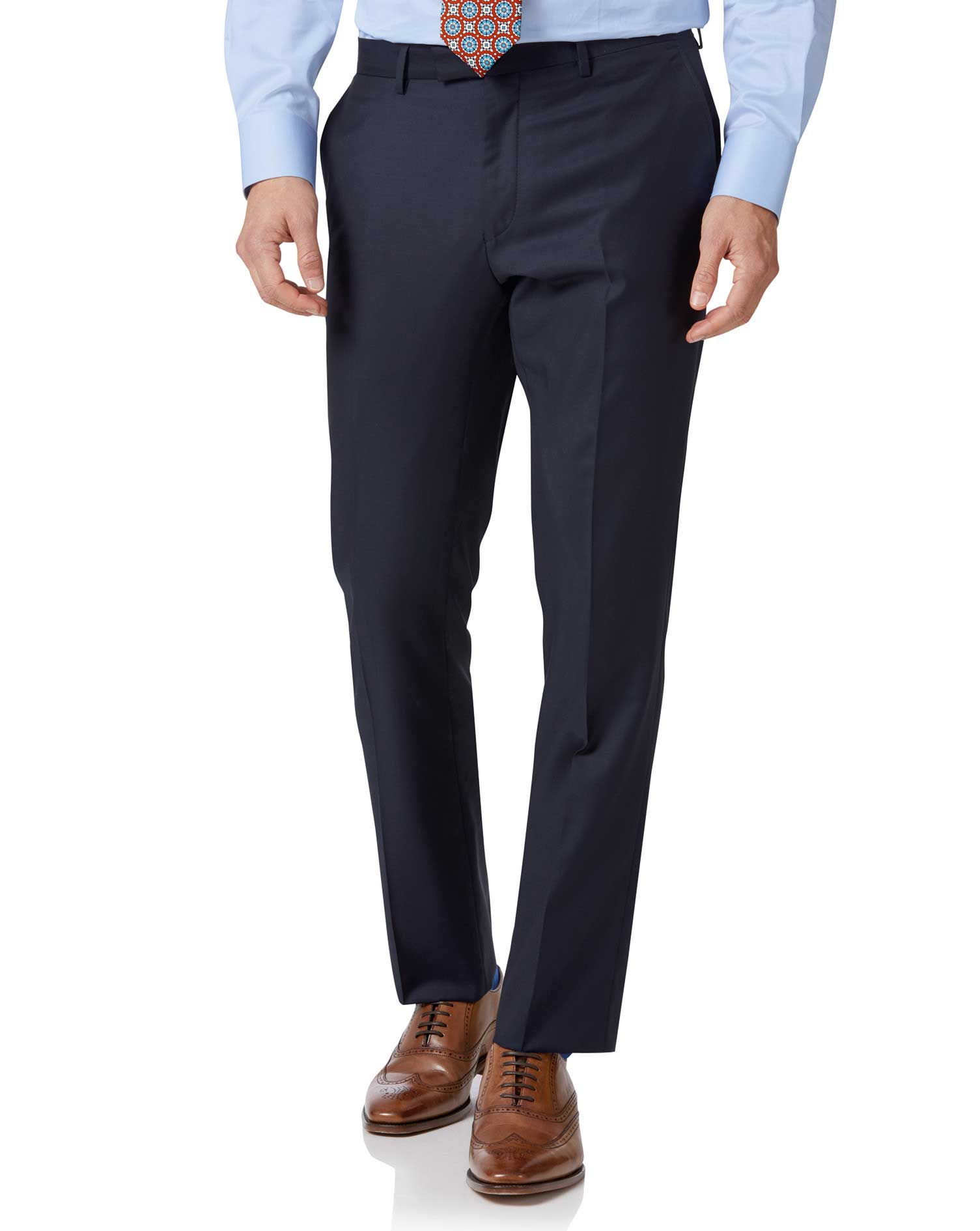 Navy Slim Fit Italian Twill Luxury Suit Trousers Size W40 L32 by Charles Tyrwhitt