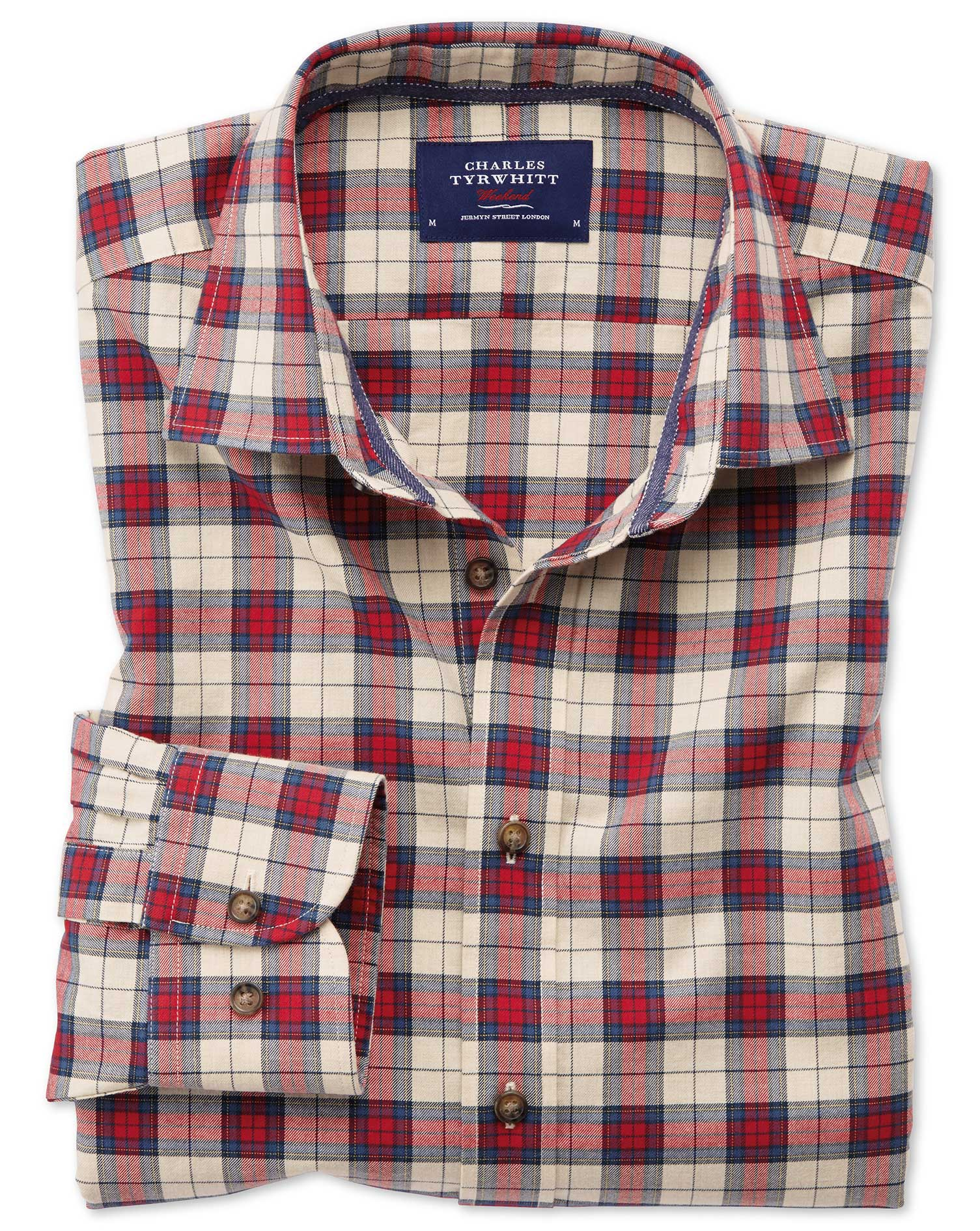 Classic Fit Heather Tartan Red Check Cotton Shirt Single Cuff Size Medium by Charles Tyrwhitt
