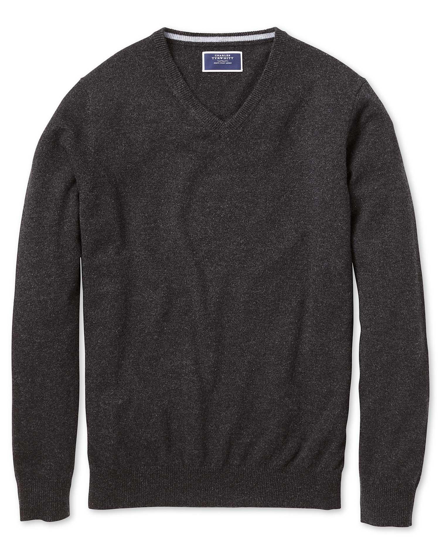 Charcoal V-Neck Cashmere Jumper Size XXL by Charles Tyrwhitt