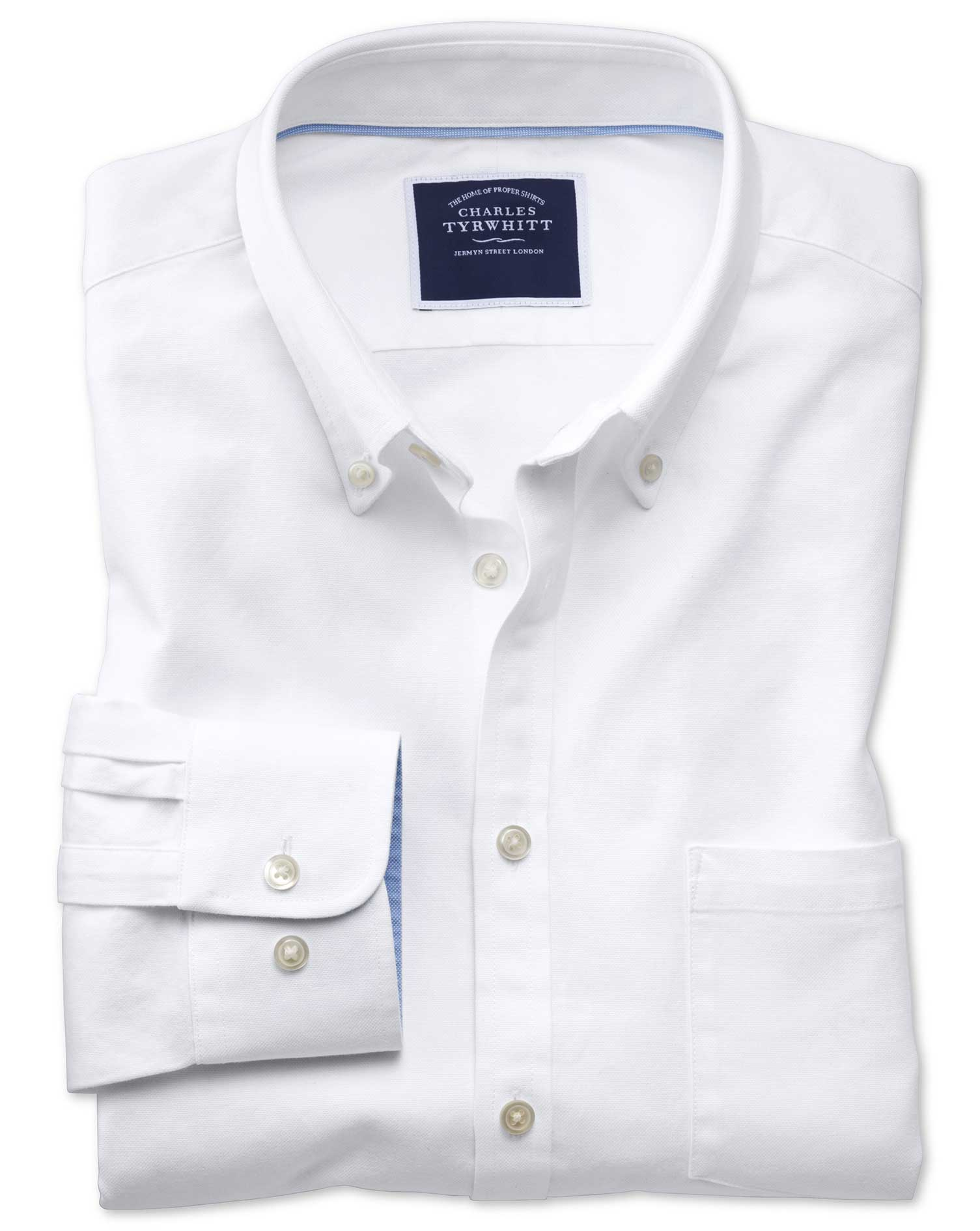 Slim Fit Button-Down Washed Oxford Plain White Cotton Shirt Single Cuff Size Large by Charles Tyrwhi