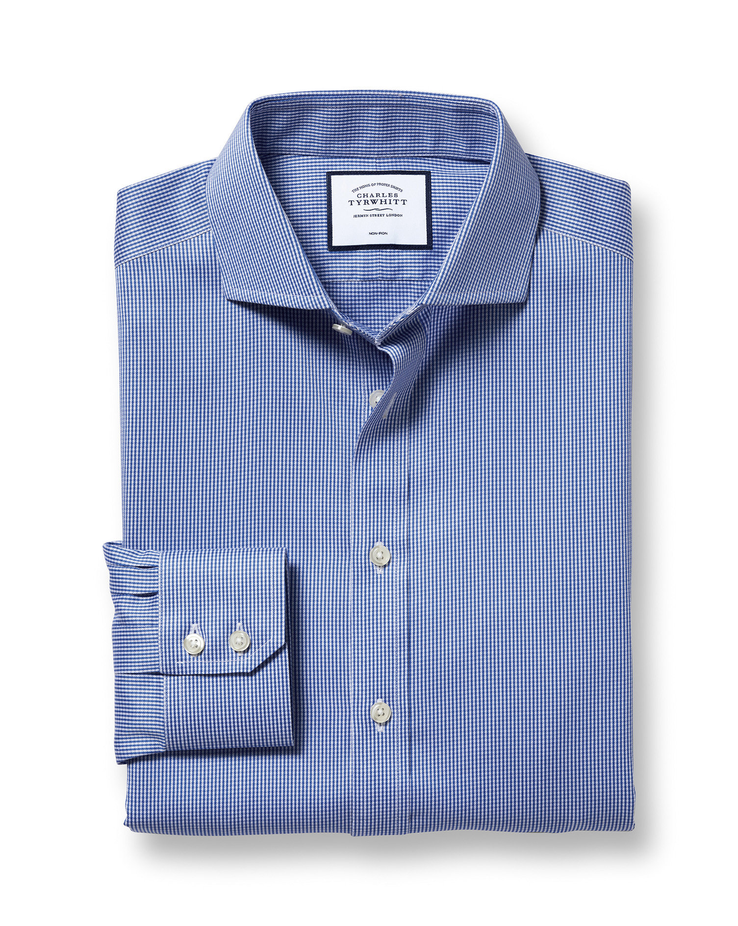 Slim Fit Non-Iron Cutaway Royal Blue Puppytooth Cotton Formal Shirt Double Cuff Size 16/36 by Charle