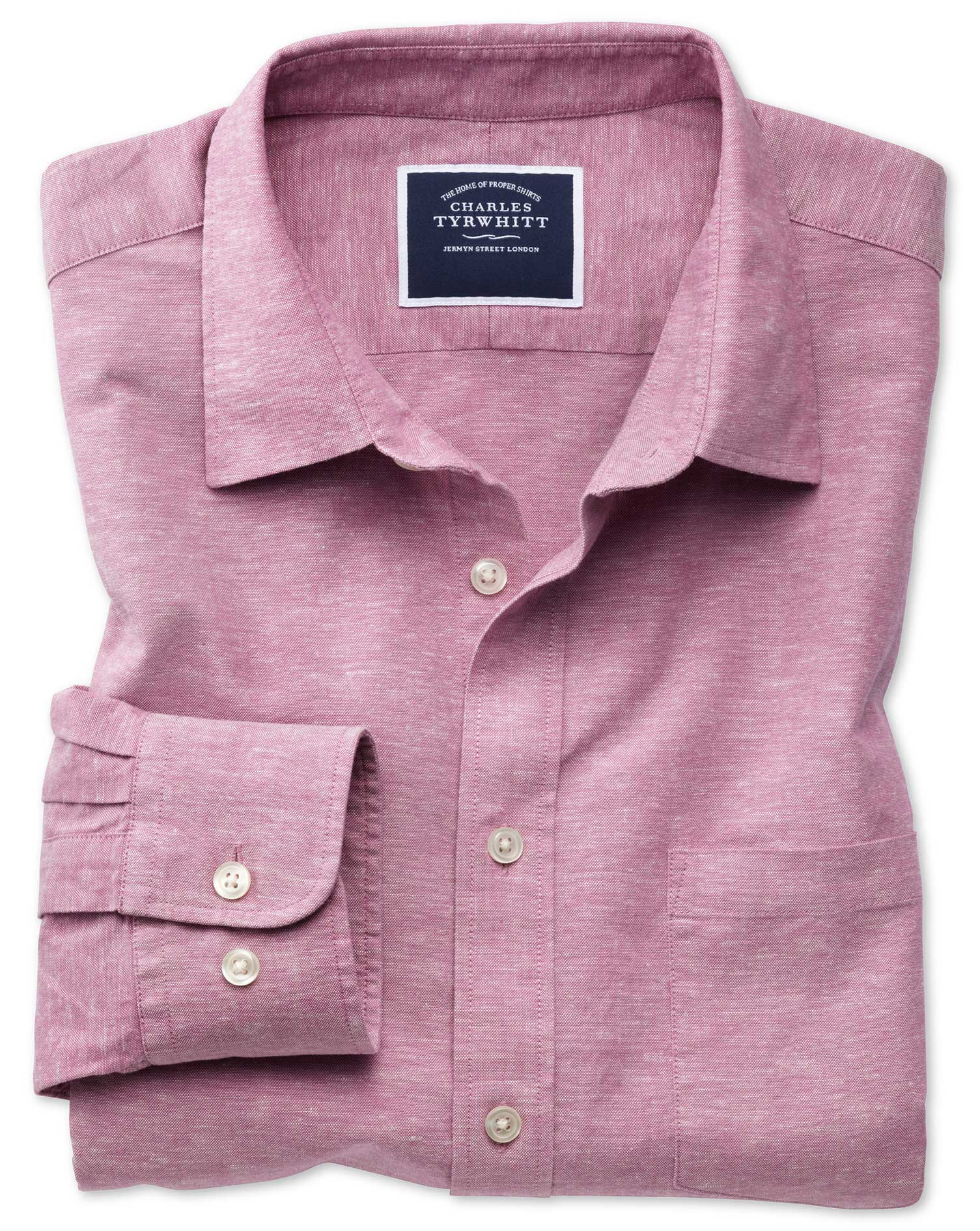 Slim Fit Cotton Linen Pink Plain Shirt Single Cuff Size Medium by Charles Tyrwhitt