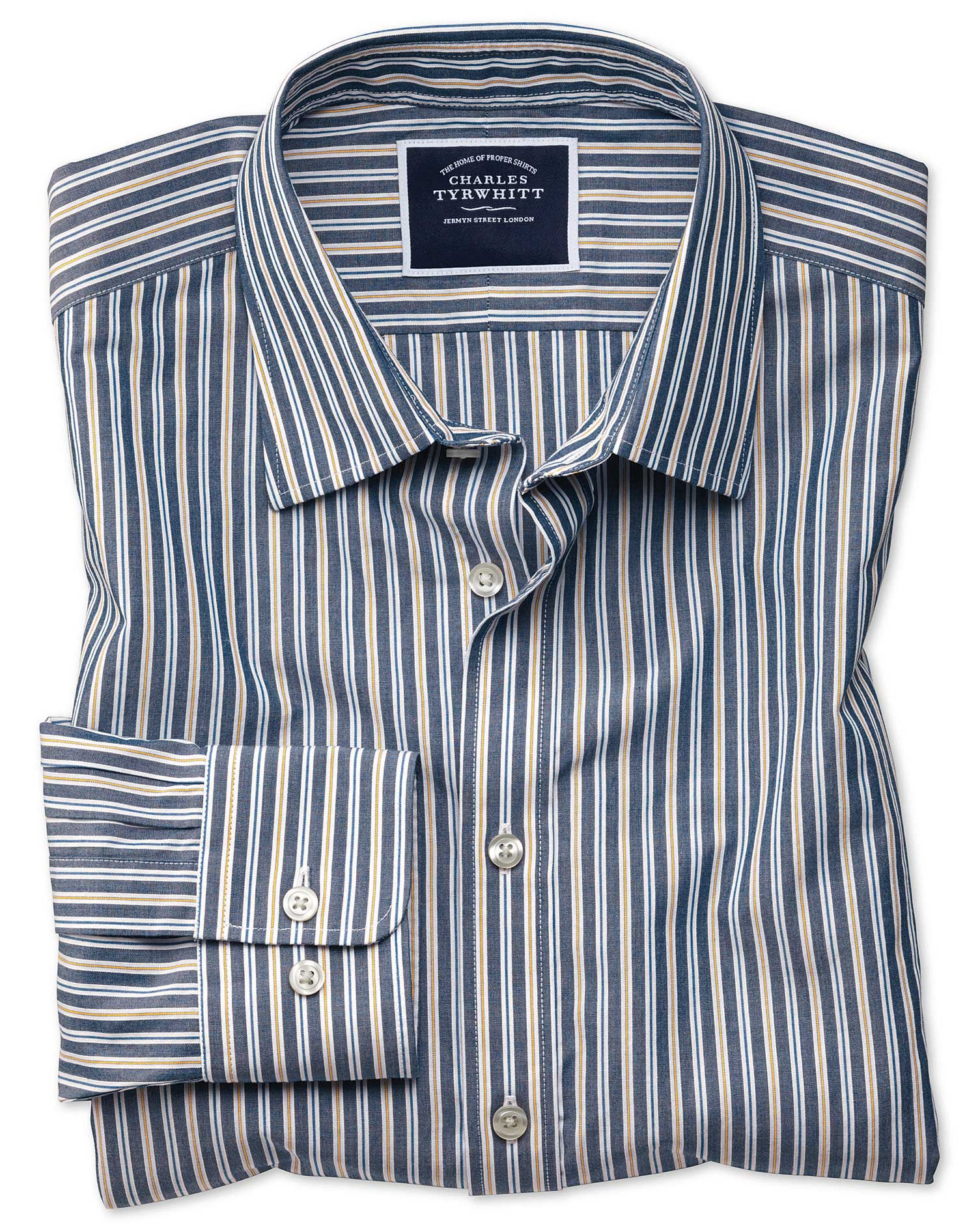 Classic Fit Navy Multi Stripe Soft Washed Cotton Shirt Single Cuff Size XL by Charles Tyrwhitt