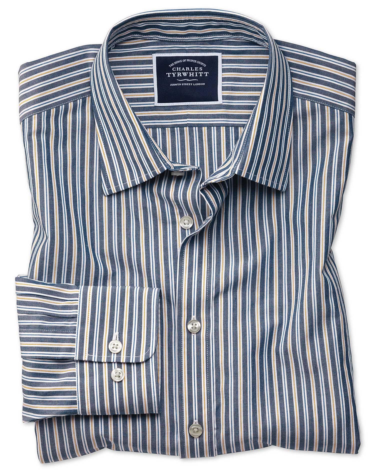 slim fit navy multi stripe soft washed cotton casual shirt single cuff size xxl by charles tyrwhitt