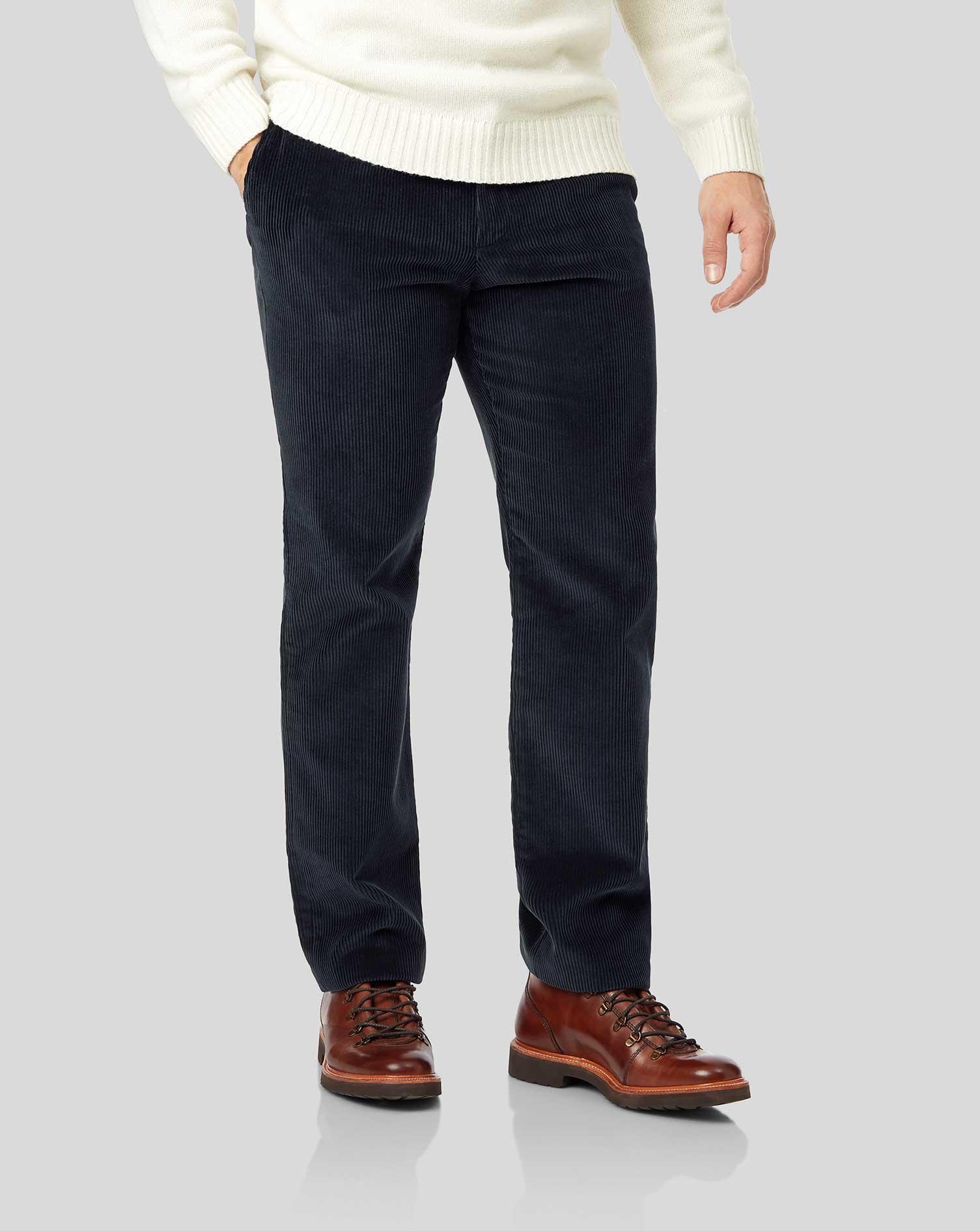 Cotton Navy Jumbo Cord Trousers