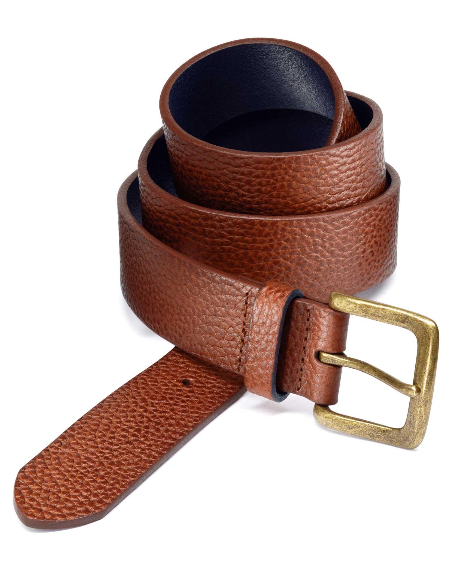 Tan Pebbled Leather Belt Size 30-32 by Charles Tyrwhitt