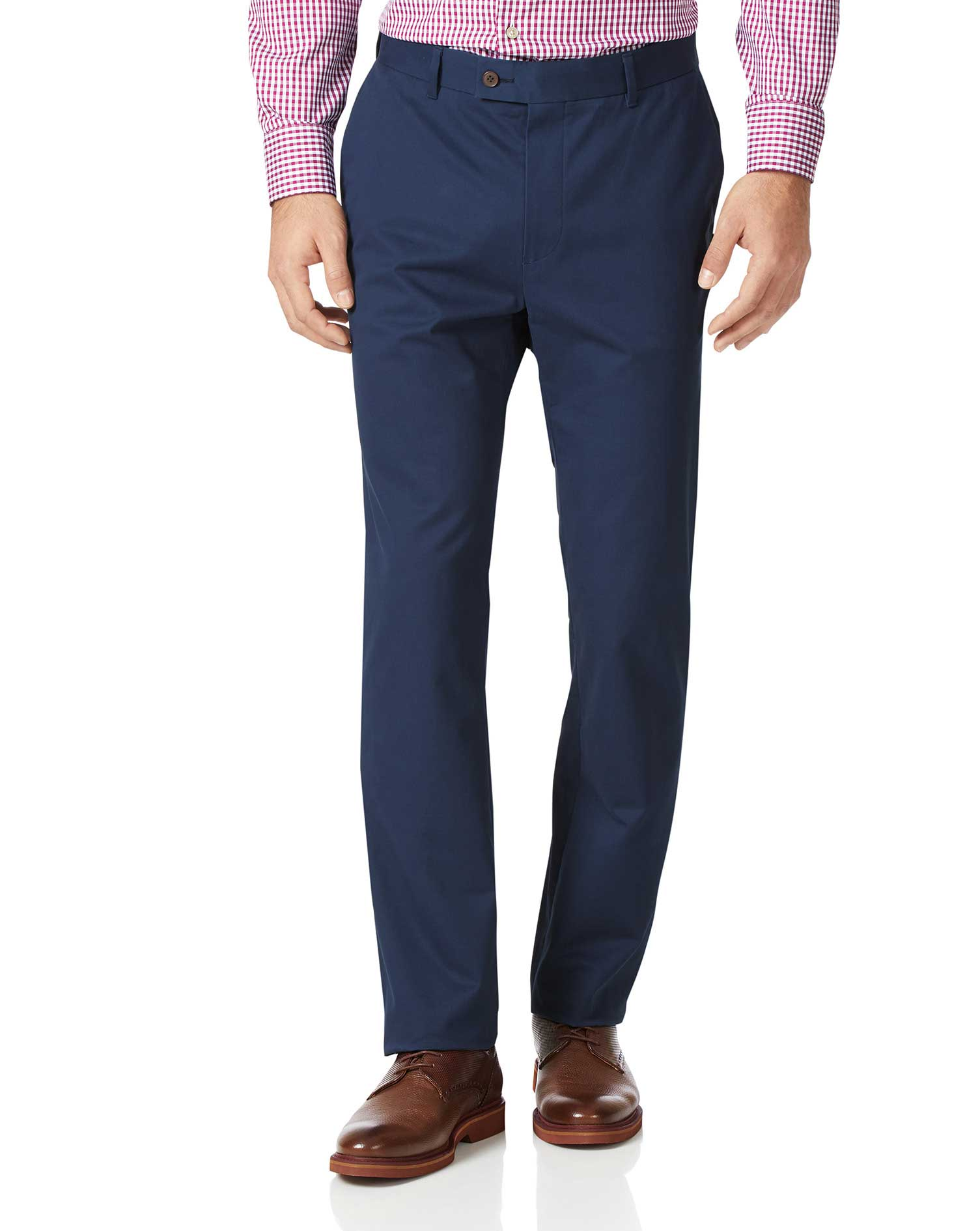 Dark Blue Slim Fit Stretch Cotton Chino Trousers Size W32 L32 by Charles Tyrwhitt