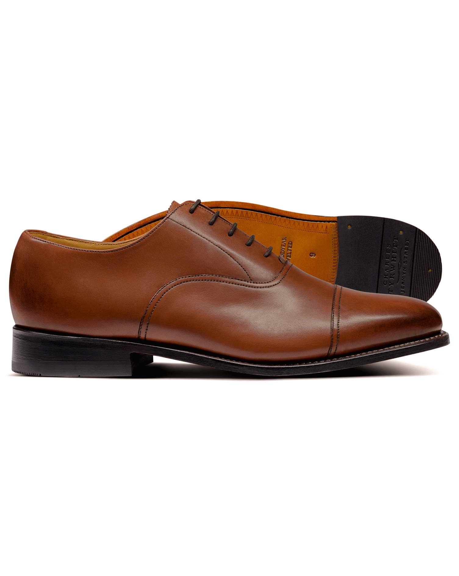 Tan Goodyear Welted Oxford Toe Cap Shoes Size 7.5 R by Charles Tyrwhitt