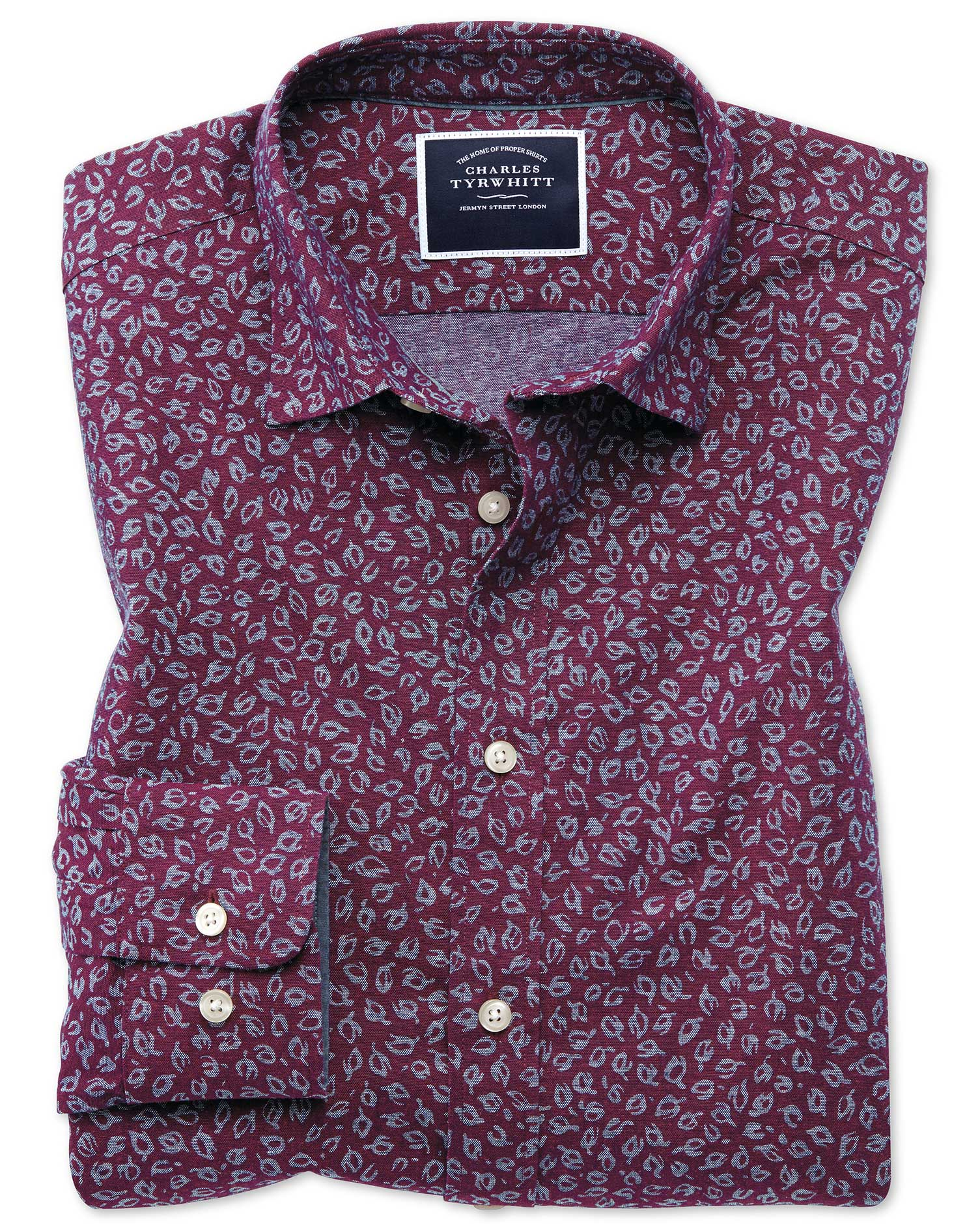 Slim Fit Leaf Print Berry Chambray Cotton Shirt Single Cuff Size XL by Charles Tyrwhitt