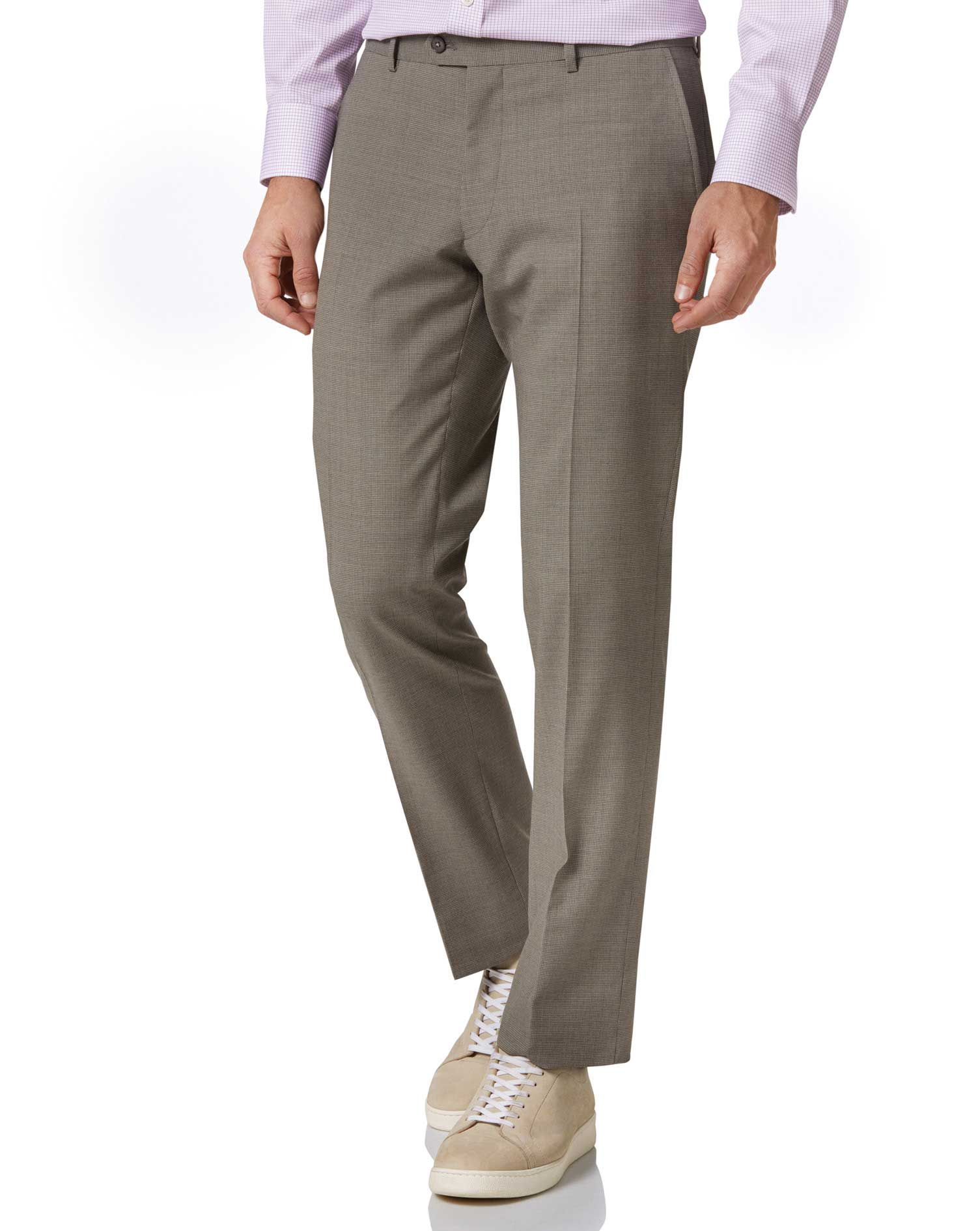 Natural Puppytooth Slim Fit Panama Business Suit Trouser Size W32 L32 by Charles Tyrwhitt