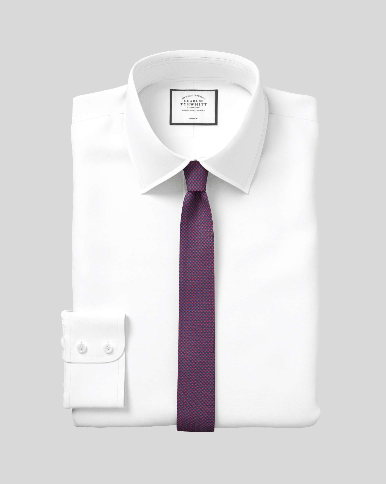 Extra Slim Fit Non-Iron White Royal Panama Cotton Formal Shirt Double Cuff Size 15.5/33 by Charles T