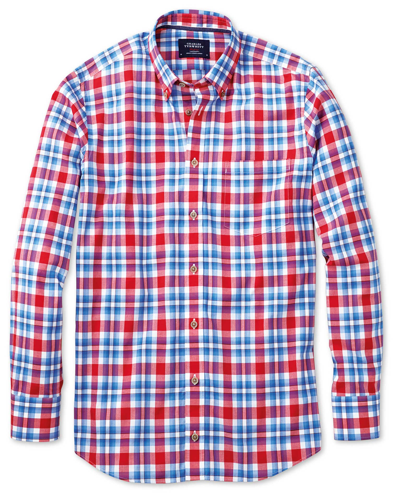 Classic Fit Button-Down Poplin Sky Blue and Red Check Cotton Shirt Single Cuff Size Medium by Charle