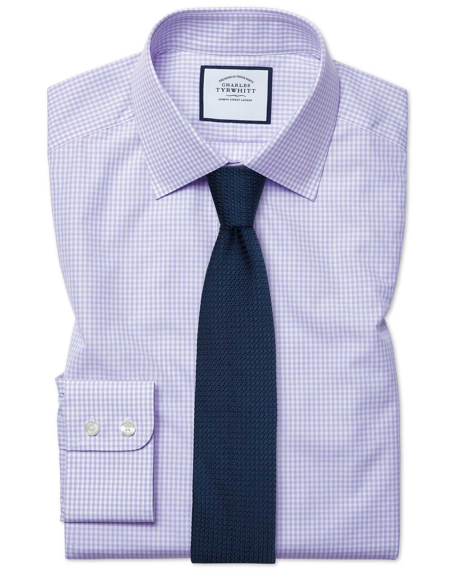 Slim Fit Small Gingham Lilac Cotton Formal Shirt Double Cuff Size 17.5/34 by Charles Tyrwhitt