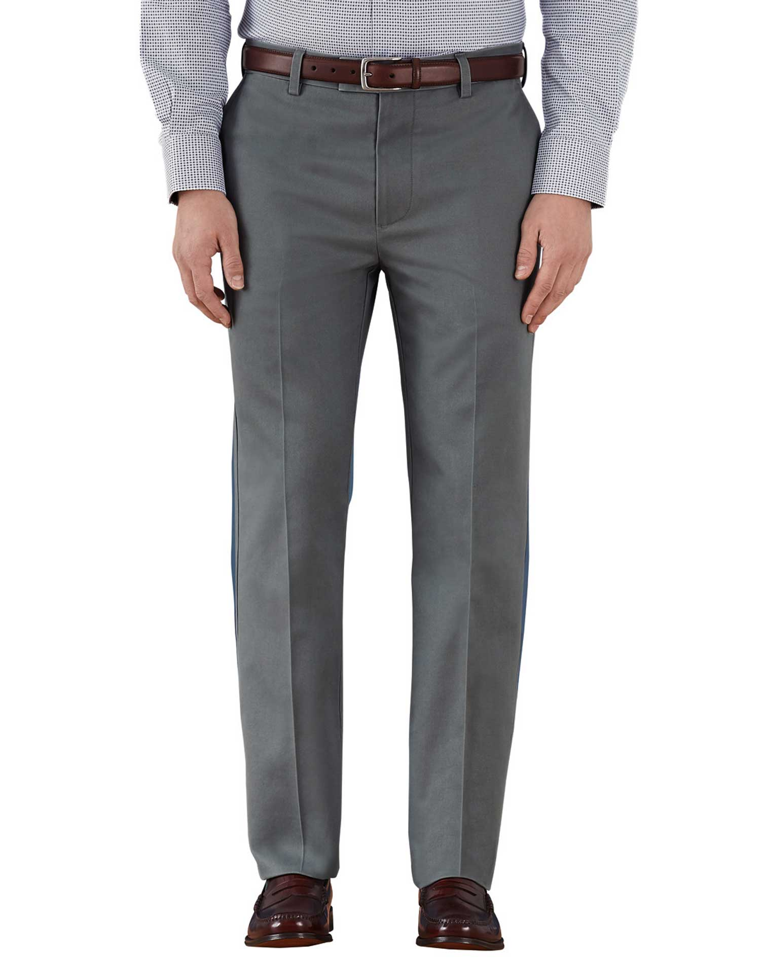 Grey Slim Fit Flat Front Washed Cotton Chino Trousers Size W36 L32 by Charles Tyrwhitt