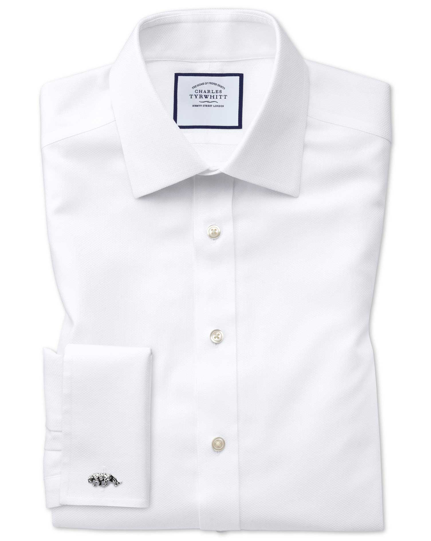 Slim Fit Non-Iron White Arrow Weave Cotton Formal Shirt Double Cuff Size 16/33 by Charles Tyrwhitt