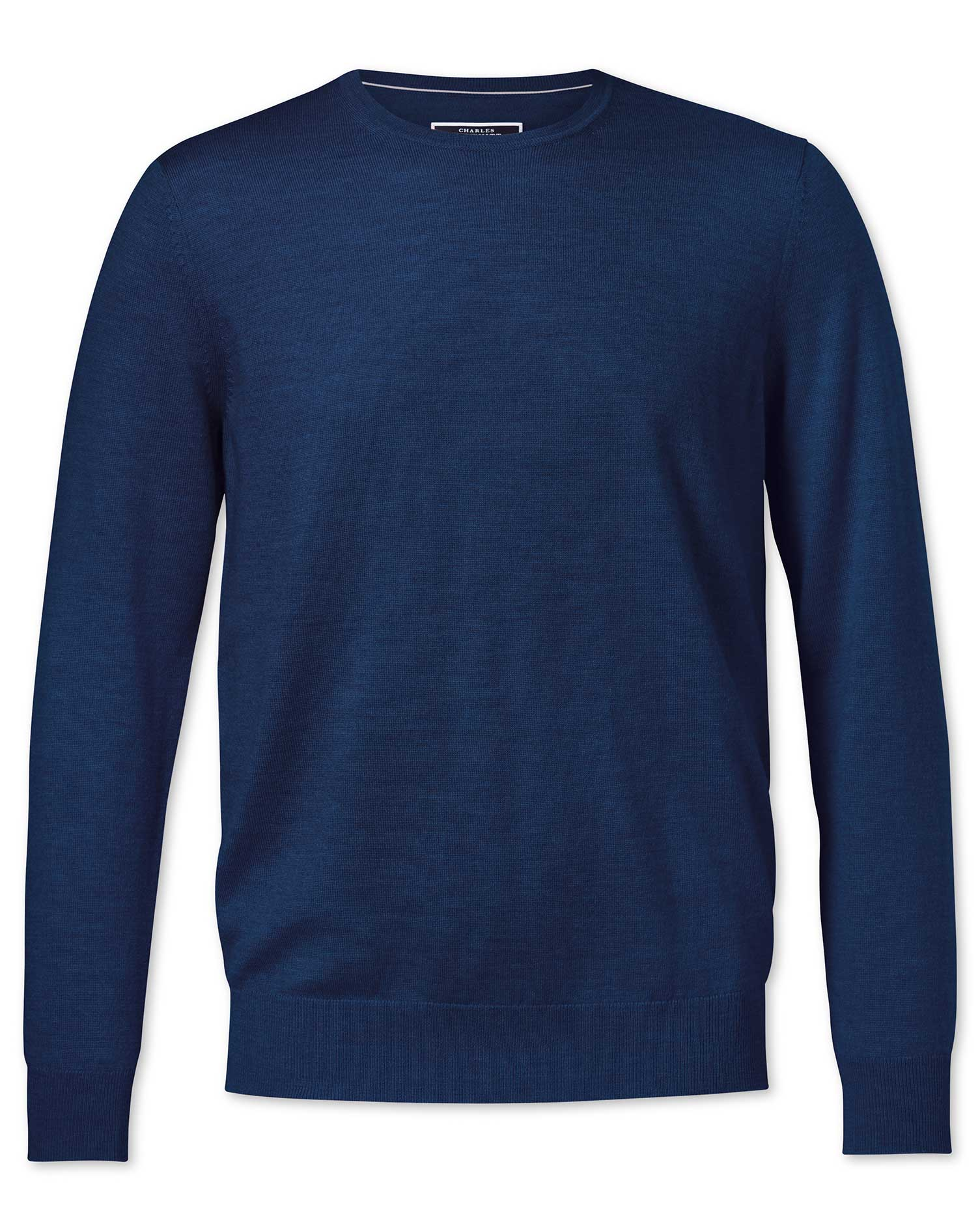 Royal Blue Merino Crew Neck Merino Wool Jumper Size XXXL by Charles Tyrwhitt