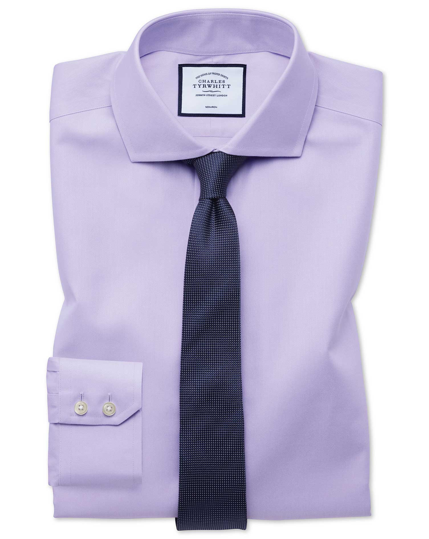 Extra Slim Fit Non-Iron Twill Lilac Cotton Formal Shirt Single Cuff Size 16/33 by Charles Tyrwhitt