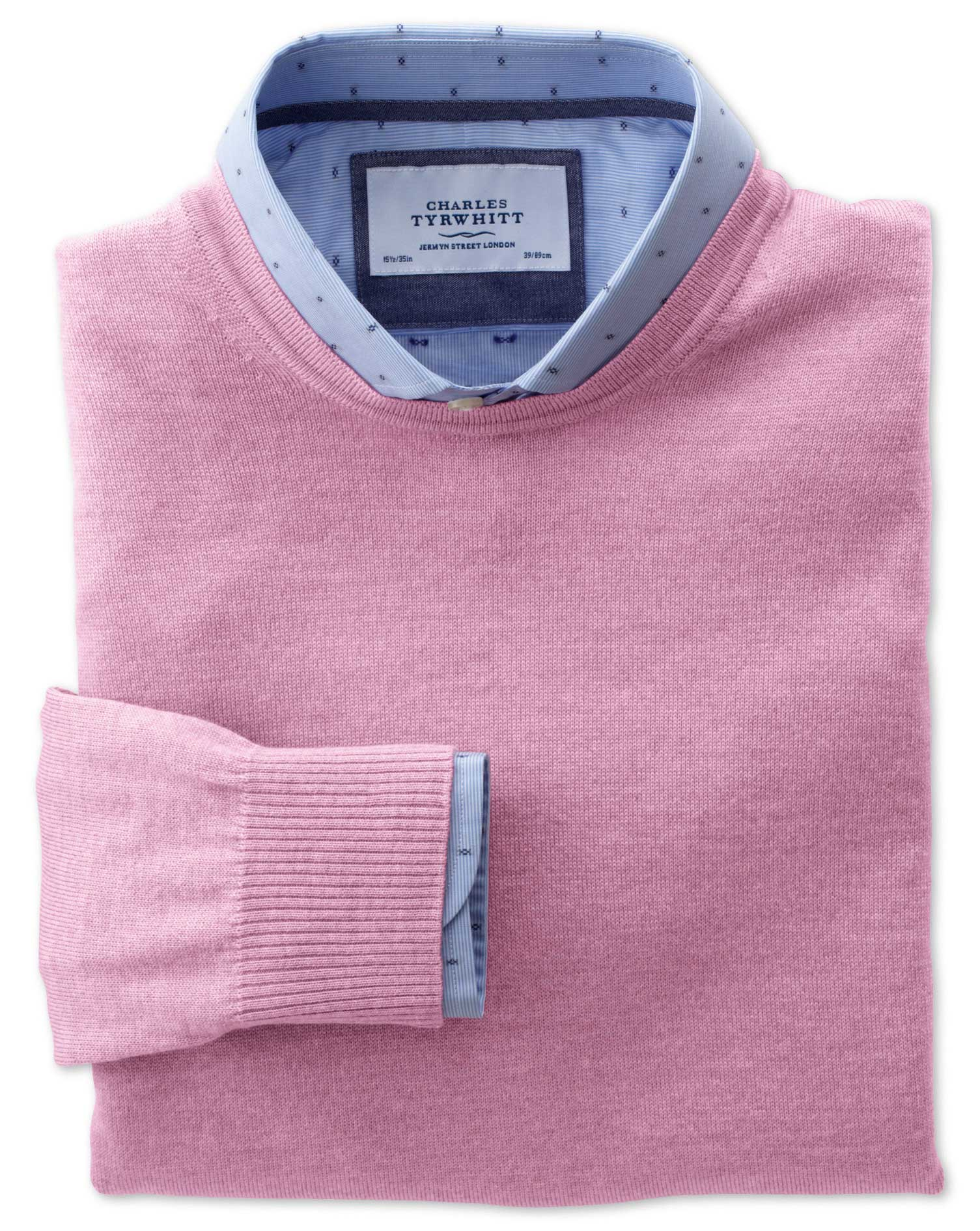 Light Pink Merino Wool Crew Neck Jumper Size XL by Charles Tyrwhitt