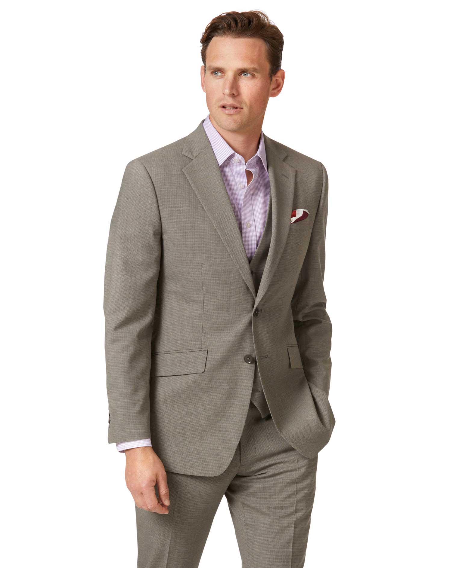 Natural Puppytooth Slim Fit Panama Business Suit Wool Jacket Size 38 Regular by Charles Tyrwhitt