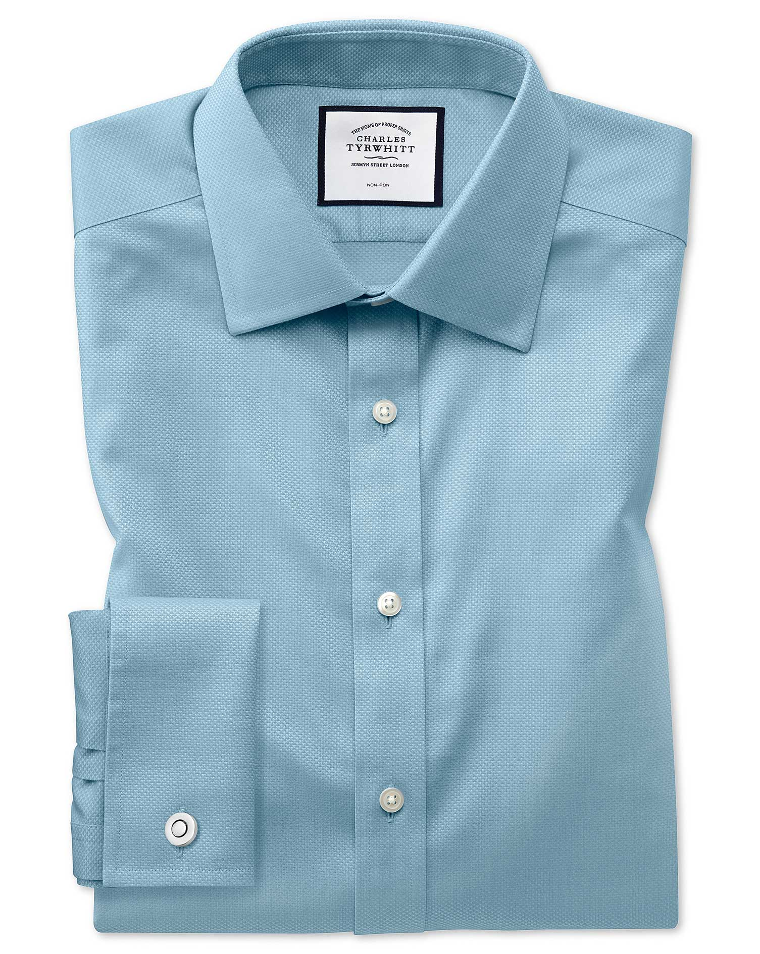 Extra Slim Fit Non-Iron Teal Triangle Weave Cotton Formal Shirt Double Cuff Size 16/34 by Charles Ty