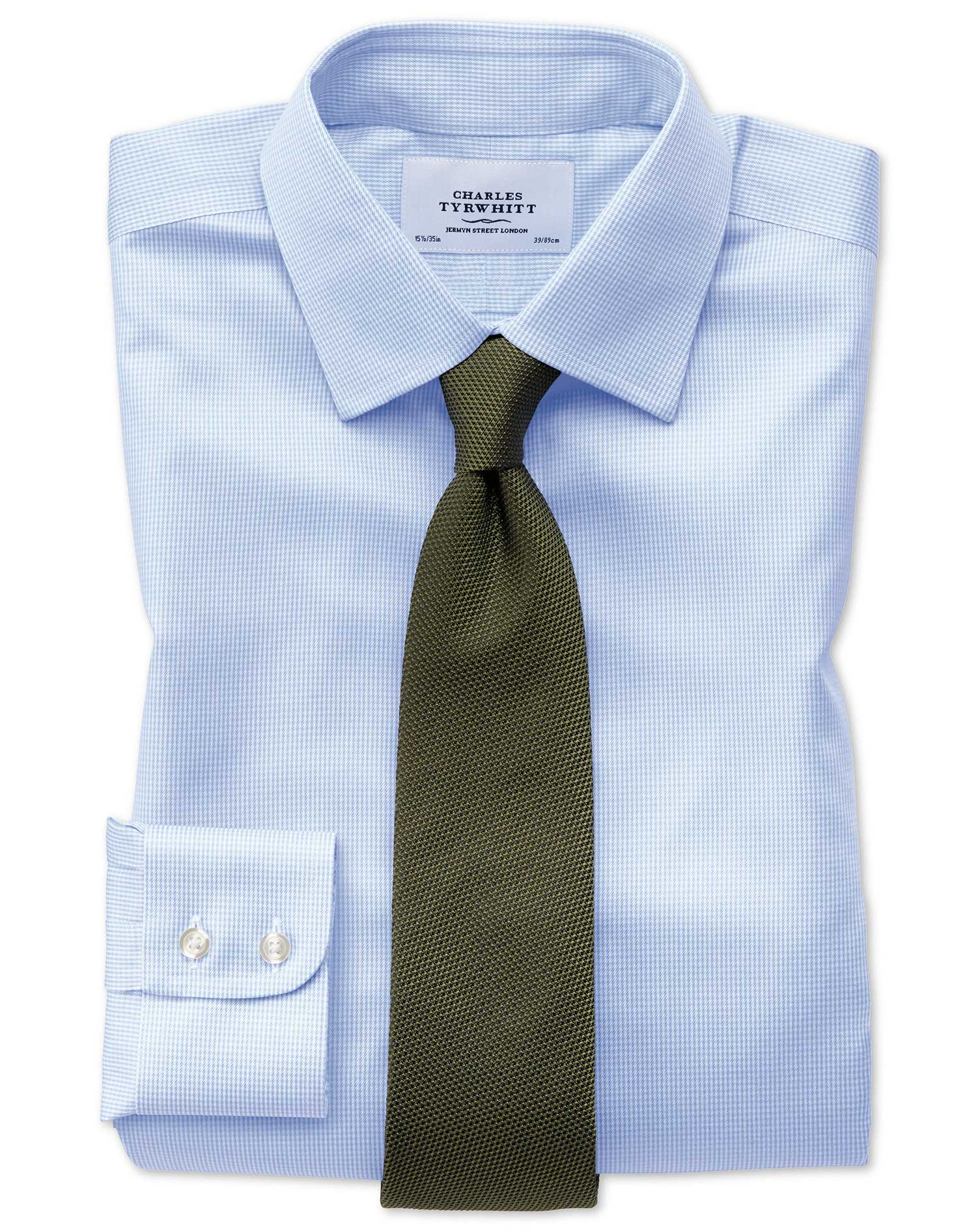 Extra slim fit non iron puppytooth sky blue shirt for Slim fit non iron shirts