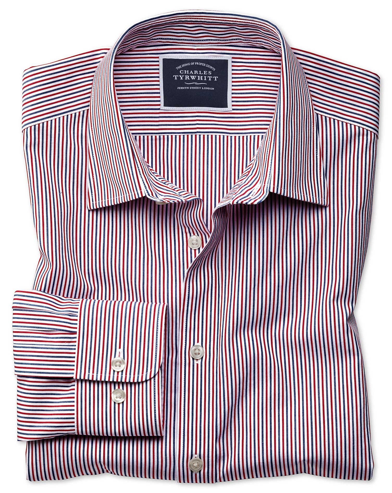 Classic Fit Blue and Red Stripe Soft Washed Cotton Shirt Single Cuff Size Small by Charles Tyrwhitt