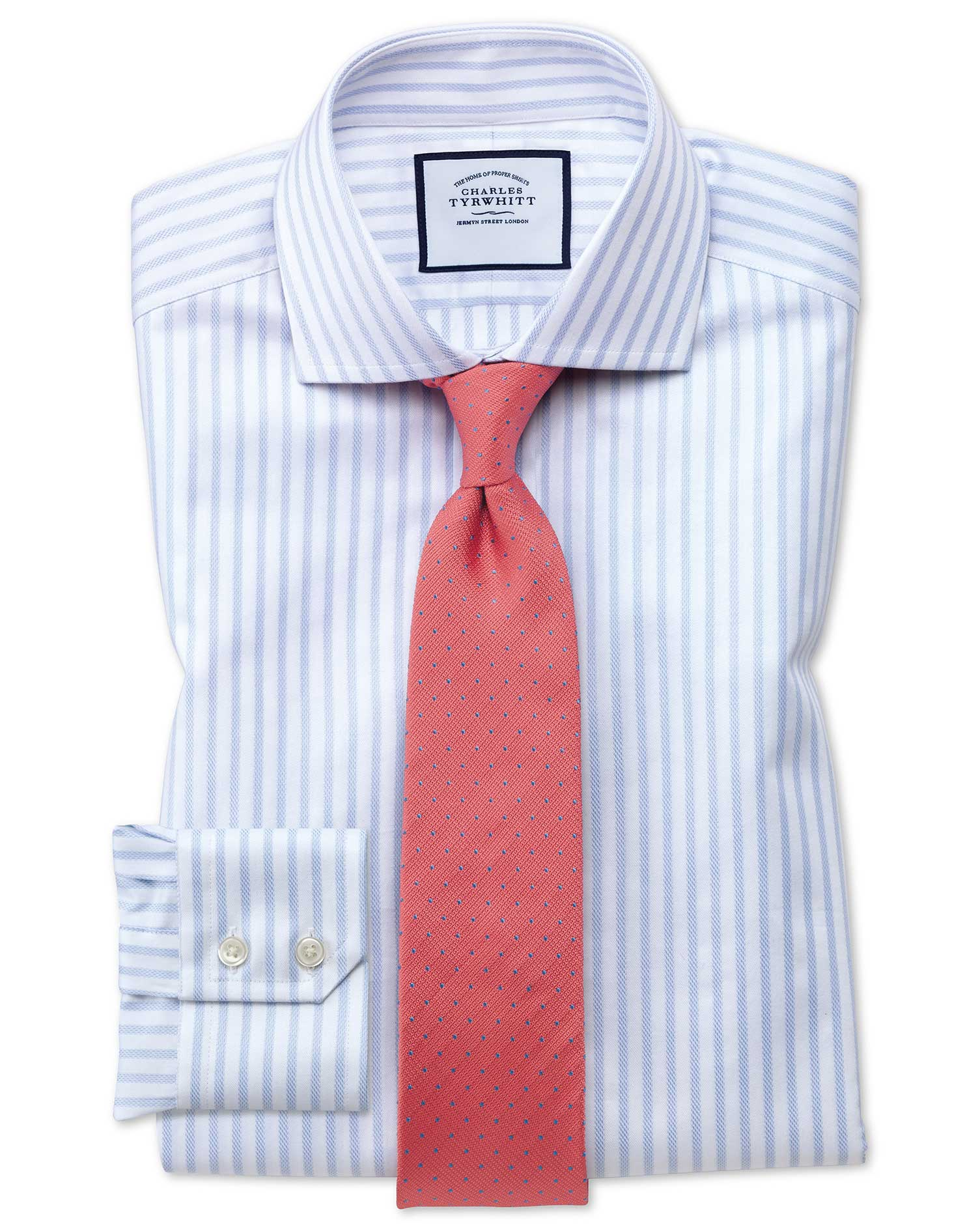 Extra Slim Fit Cutaway Textured Stripe Blue and White Cotton Formal Shirt Single Cuff Size 16.5/33 b